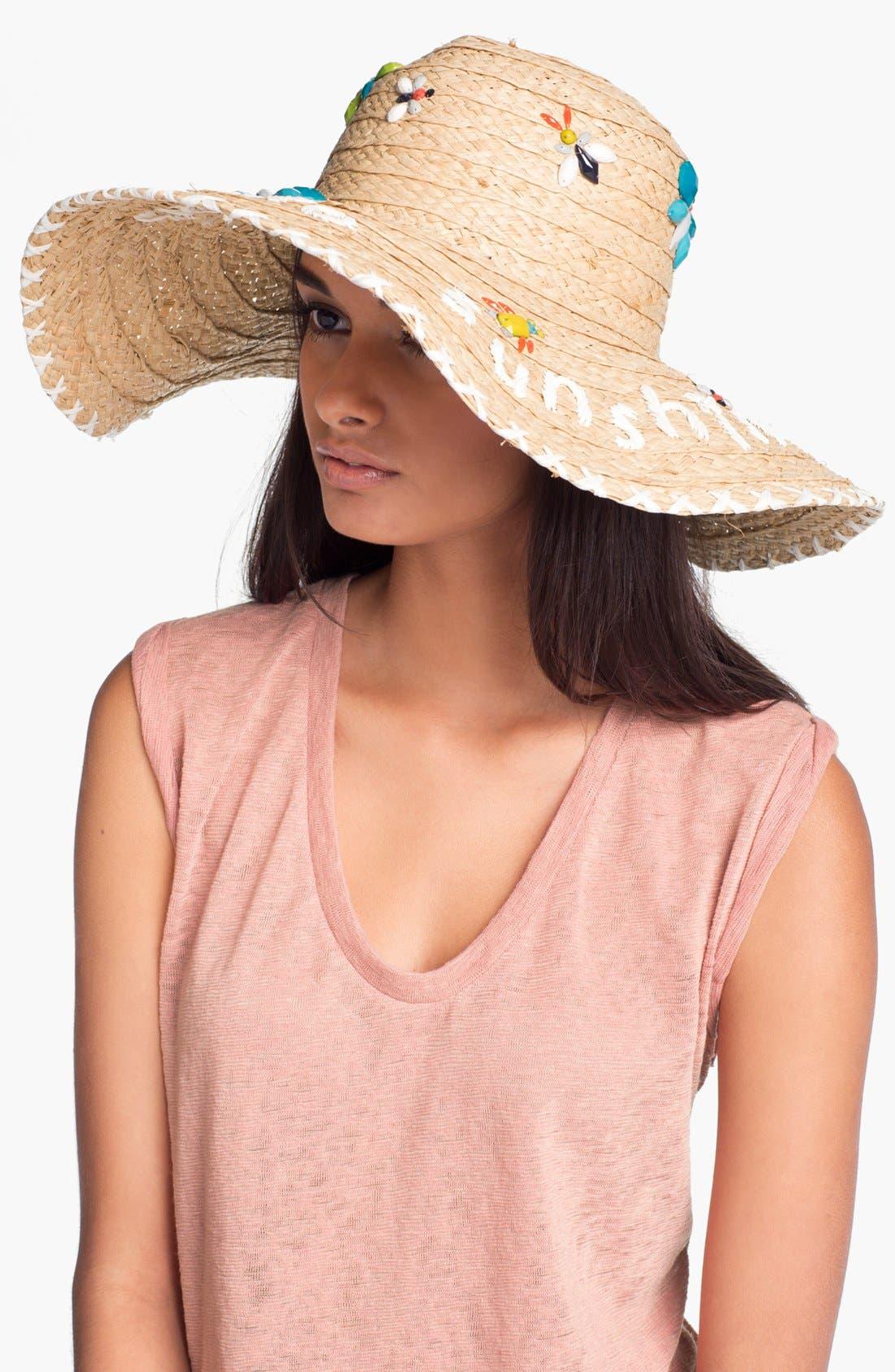 Main Image - kate spade new york 'hello sunshine' raffia sun hat