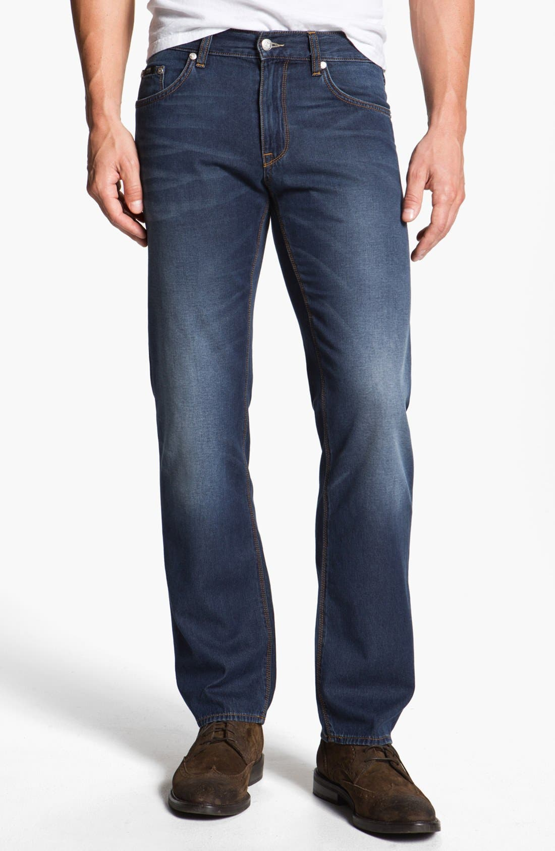 Alternate Image 1 Selected - BOSS HUGO BOSS 'Maine' Straight Leg Jeans (Medium Rinse)