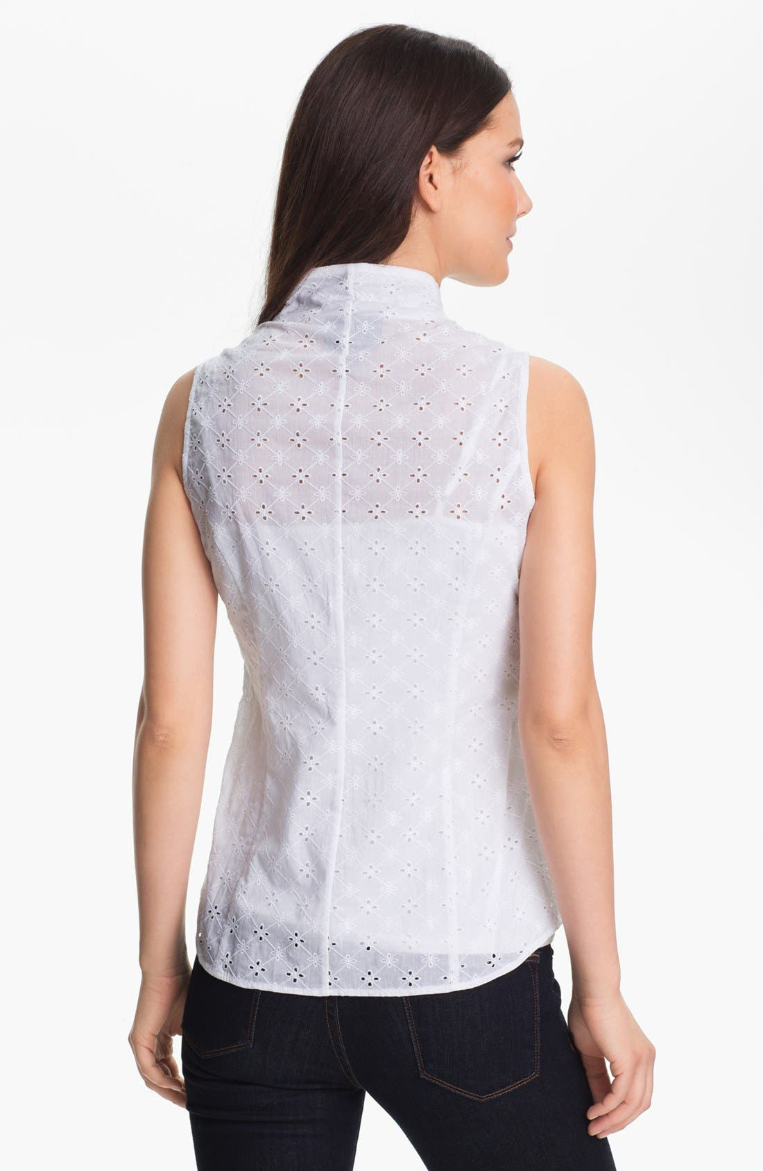 Alternate Image 2  - Foxcroft Sleeveless Eyelet Shirt