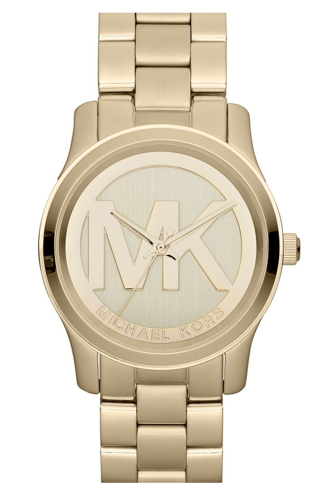 Alternate Image 1 Selected - Michael Kors 'Runway' Logo Dial Bracelet Watch, 38mm