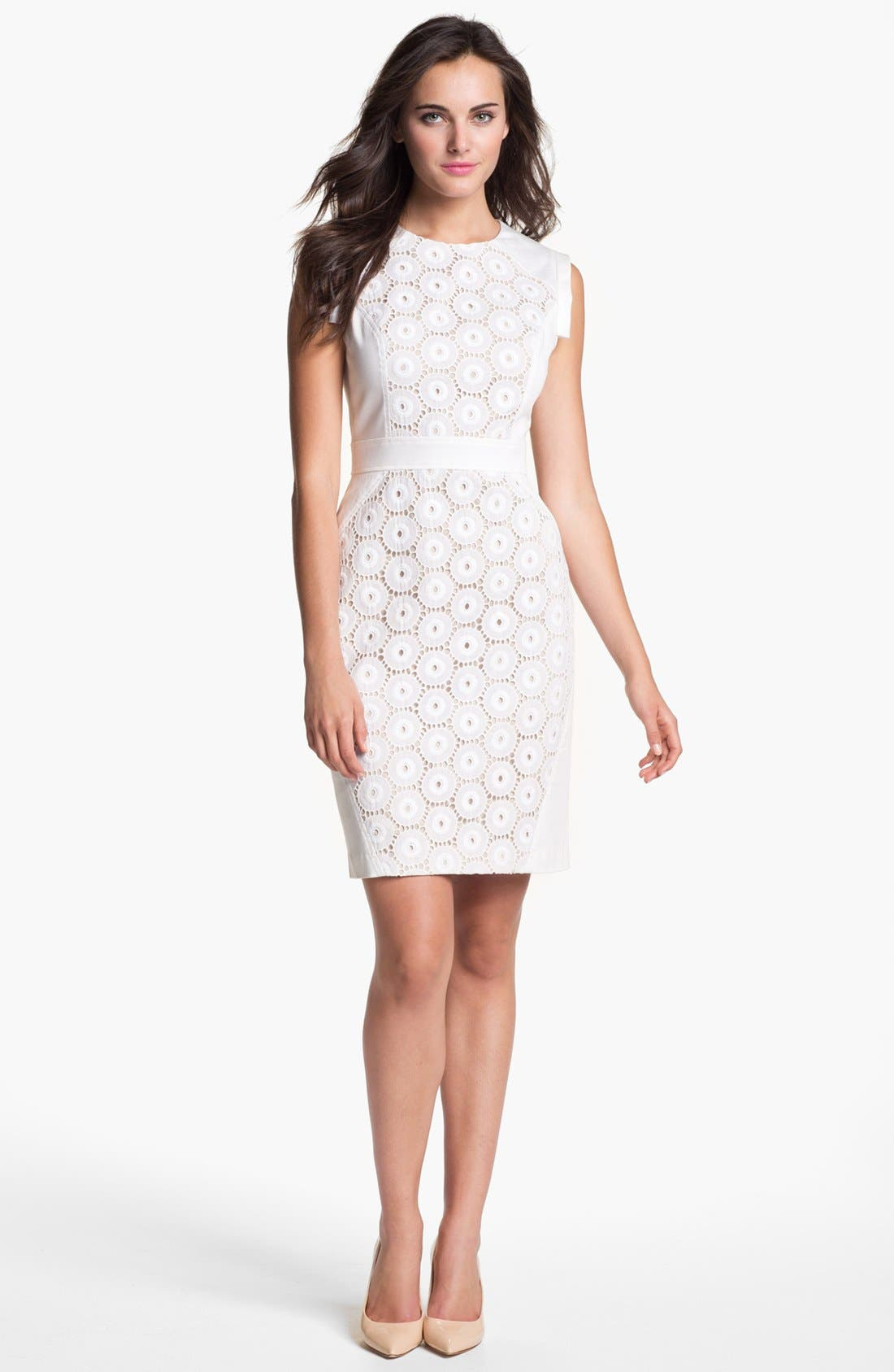 Alternate Image 1 Selected - Adrianna Papell Mixed Lace Cotton Sheath Dress (Regular & Petite)