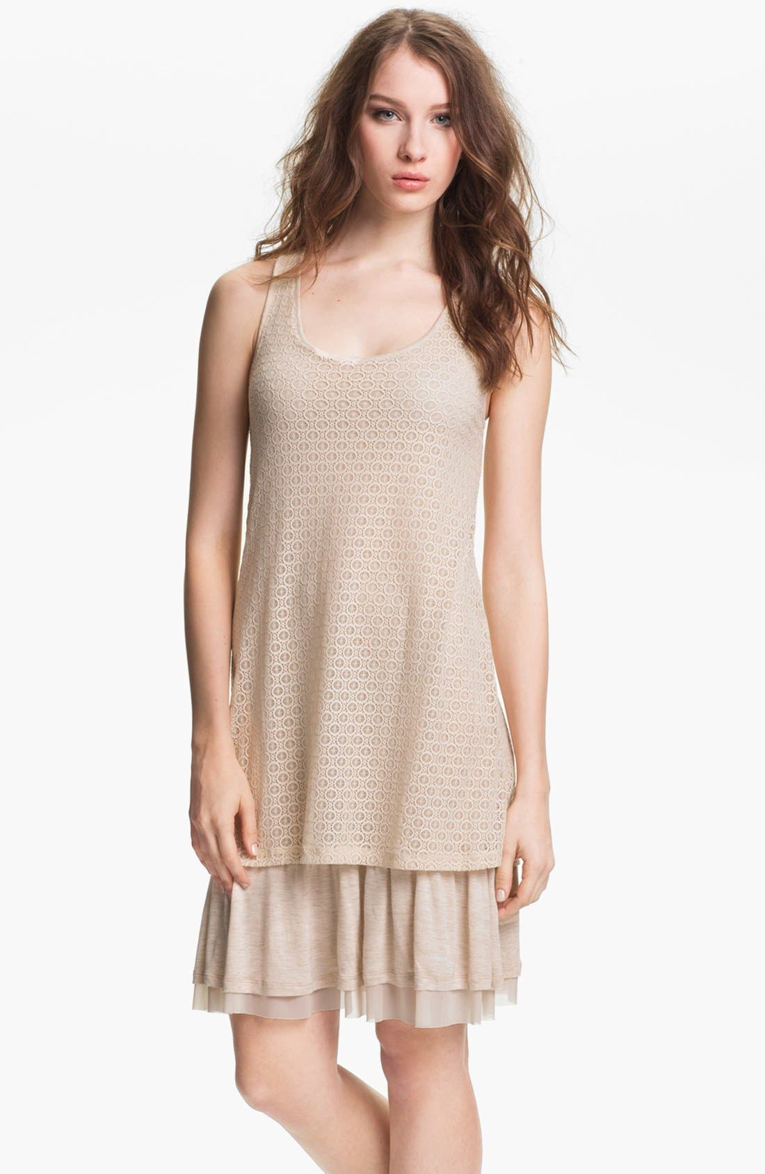 Alternate Image 1 Selected - Kensie Lace Overlay Dress (Online Exclusive)