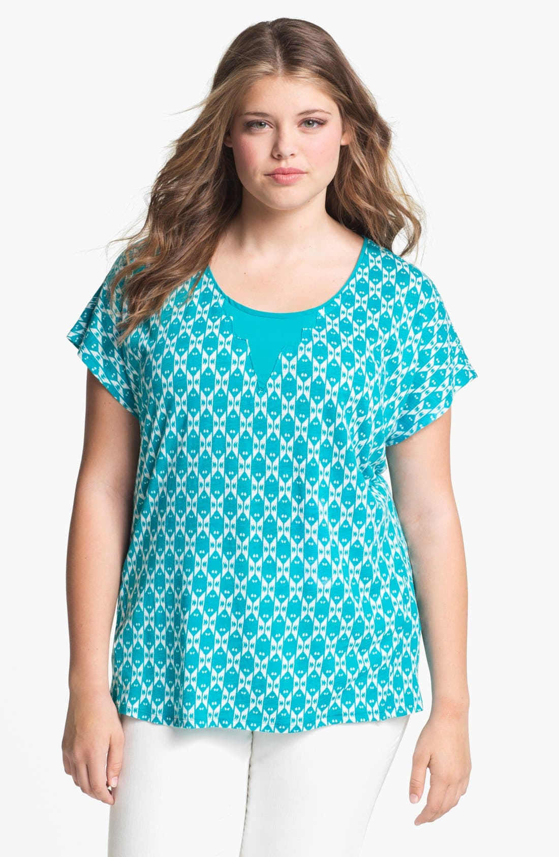 Alternate Image 1 Selected - Lucky Brand 'Carina' Ikat Print Top (Plus Size)