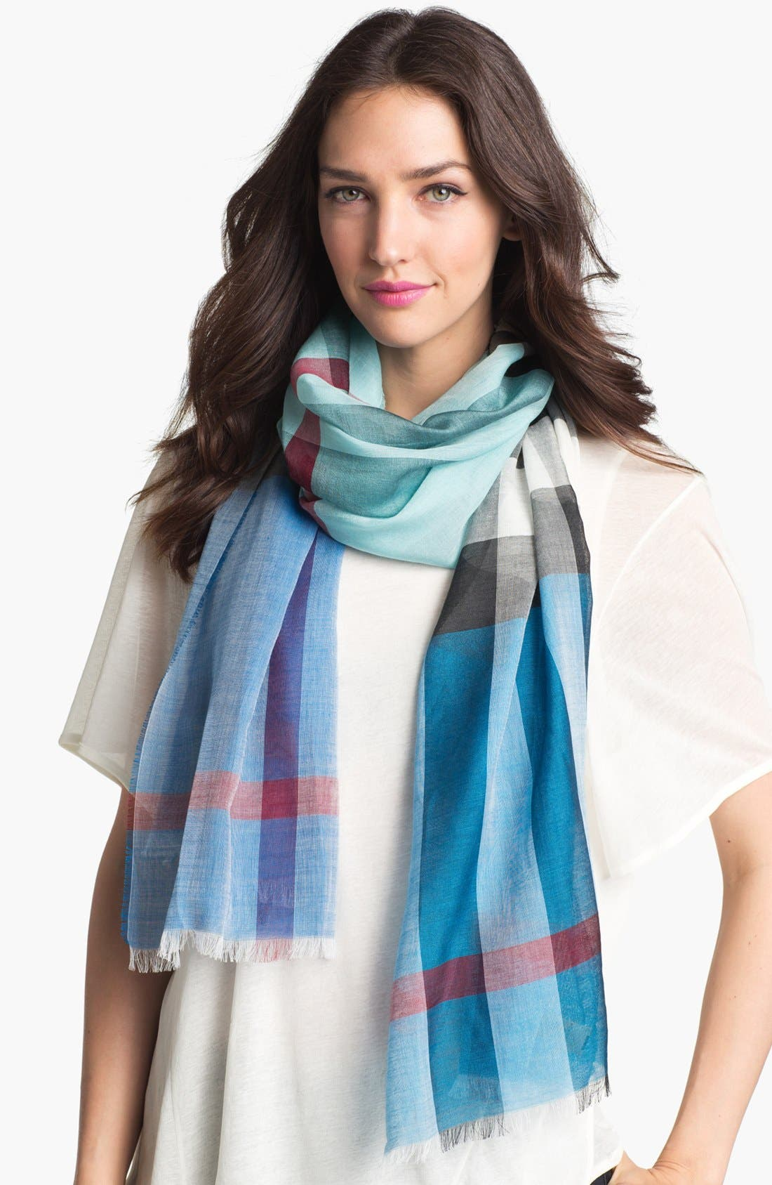Main Image - Burberry Mega Check Stripe Scarf