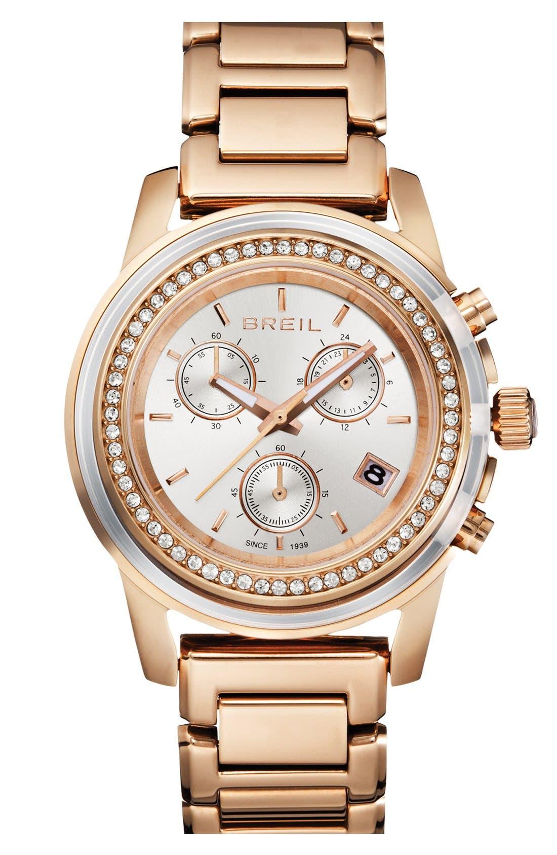 Alternate Image 1 Selected - Breil 'Orchestra' Crystal Bezel Chronograph Bracelet Watch, 37mm