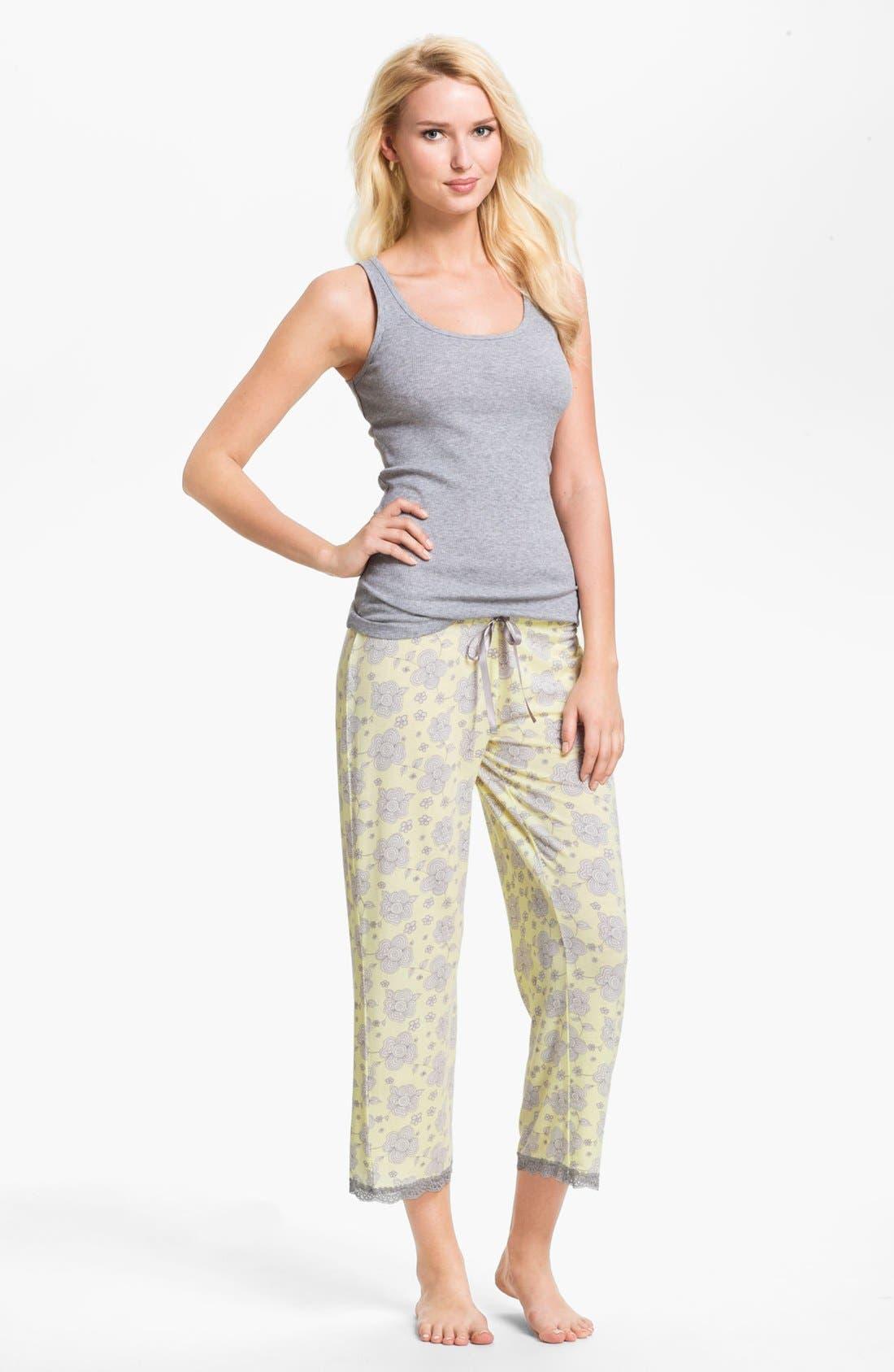 Alternate Image 3  - PJ Salvage Floral Knit Crop Lounge Pants