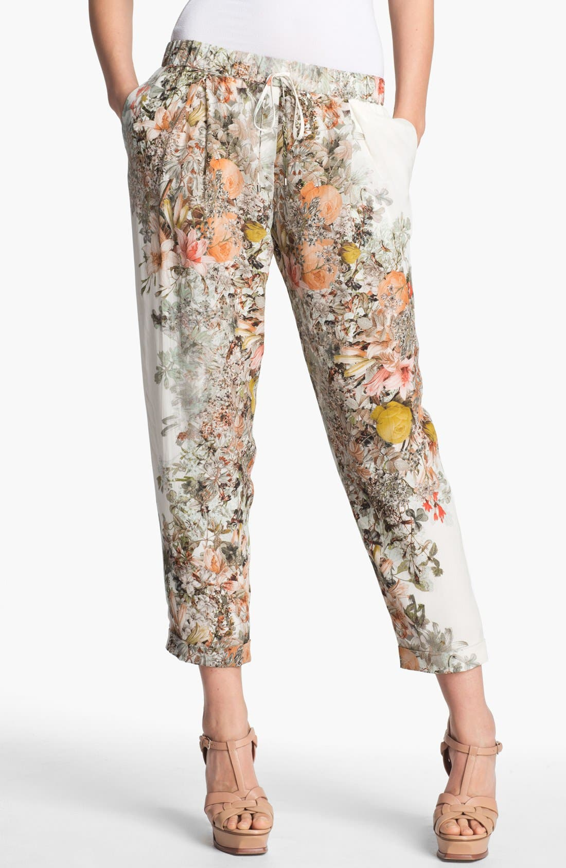 Alternate Image 1 Selected - Haute Hippie Pleated Floral Print Silk Pants