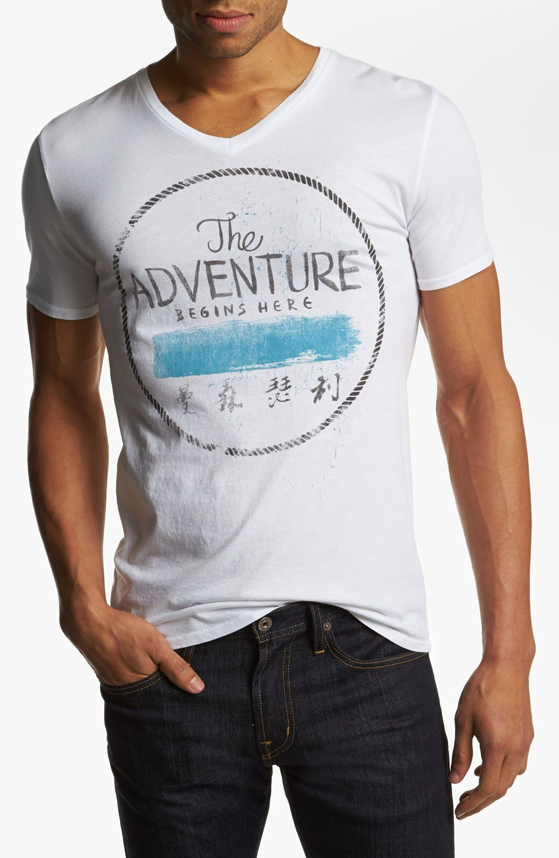 Alternate Image 1 Selected - Scott Free 'Adventure' Graphic V-Neck T-Shirt