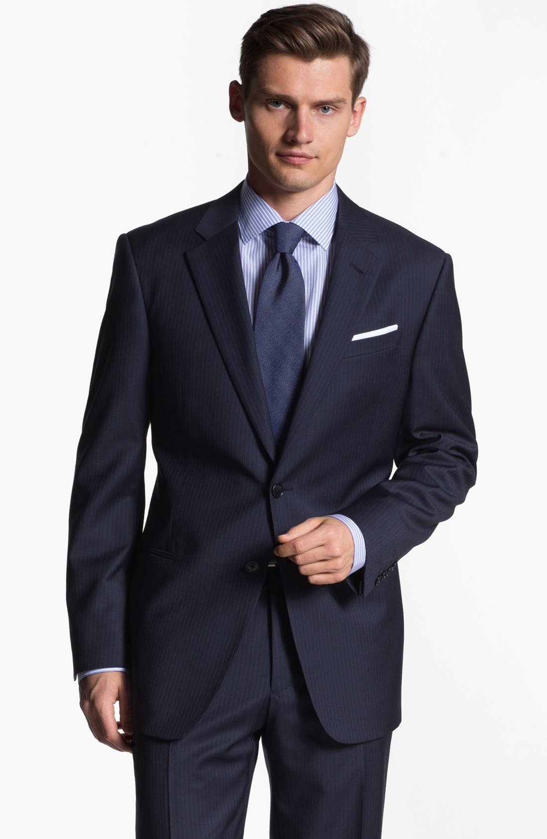 Alternate Image 1 Selected - Armani Collezioni 'Giorgio' Chalk Stripe Wool Suit