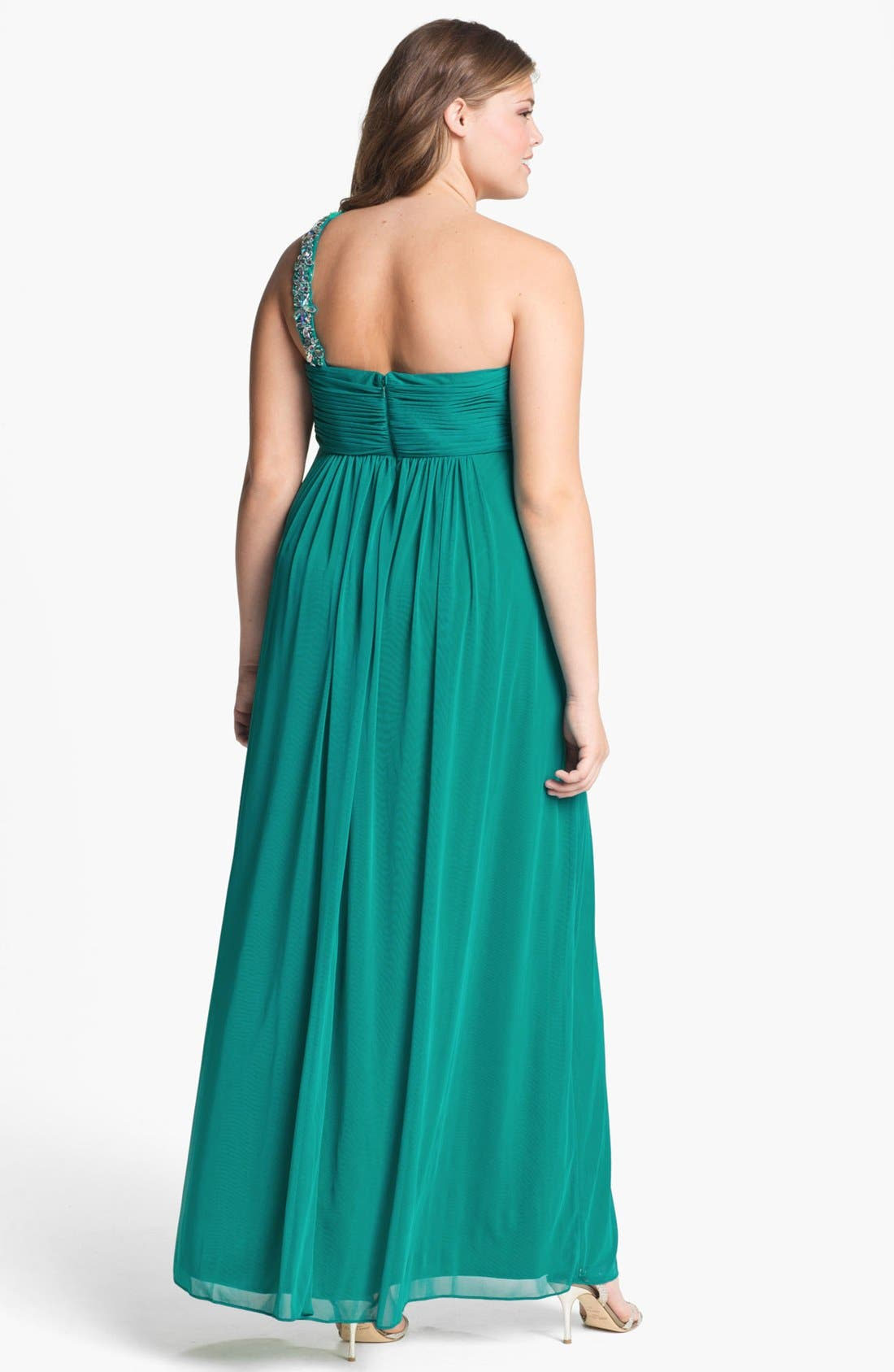 Alternate Image 2  - Xscape Embellished One Shoulder Gown (Plus Size) (Online Only)