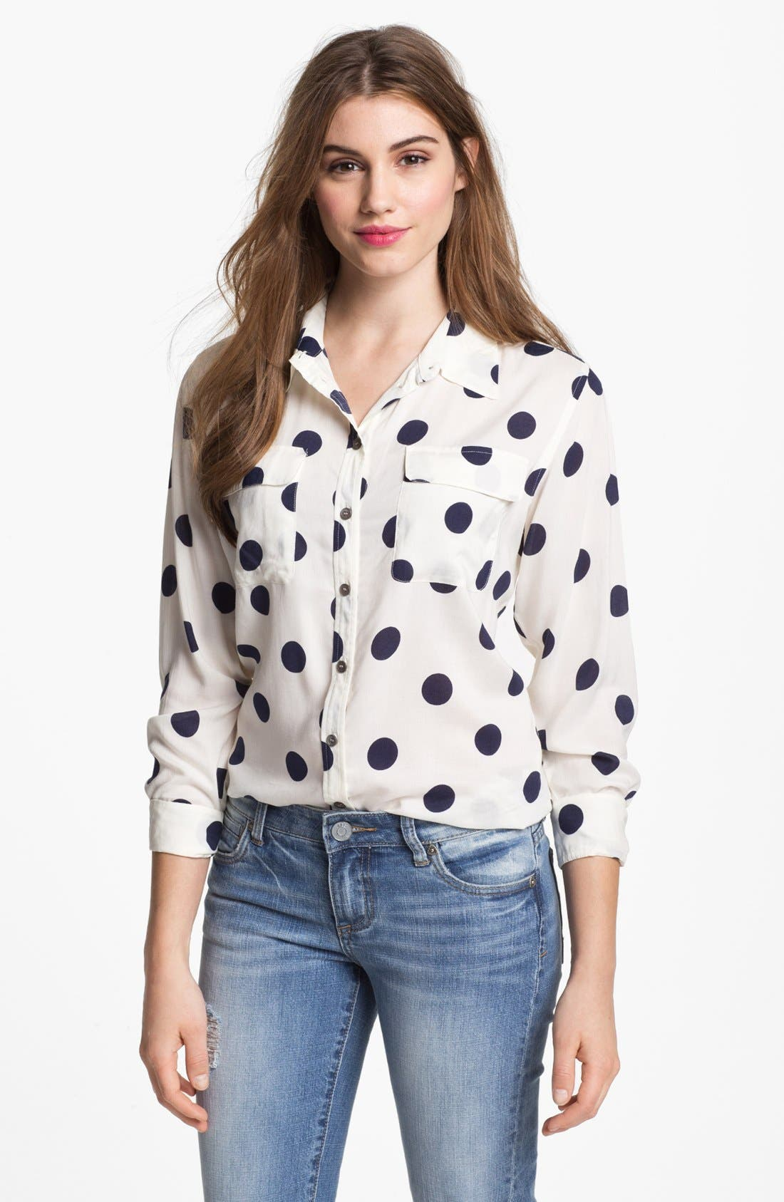 Alternate Image 1 Selected - Two by Vince Camuto Polka Dot Shirt