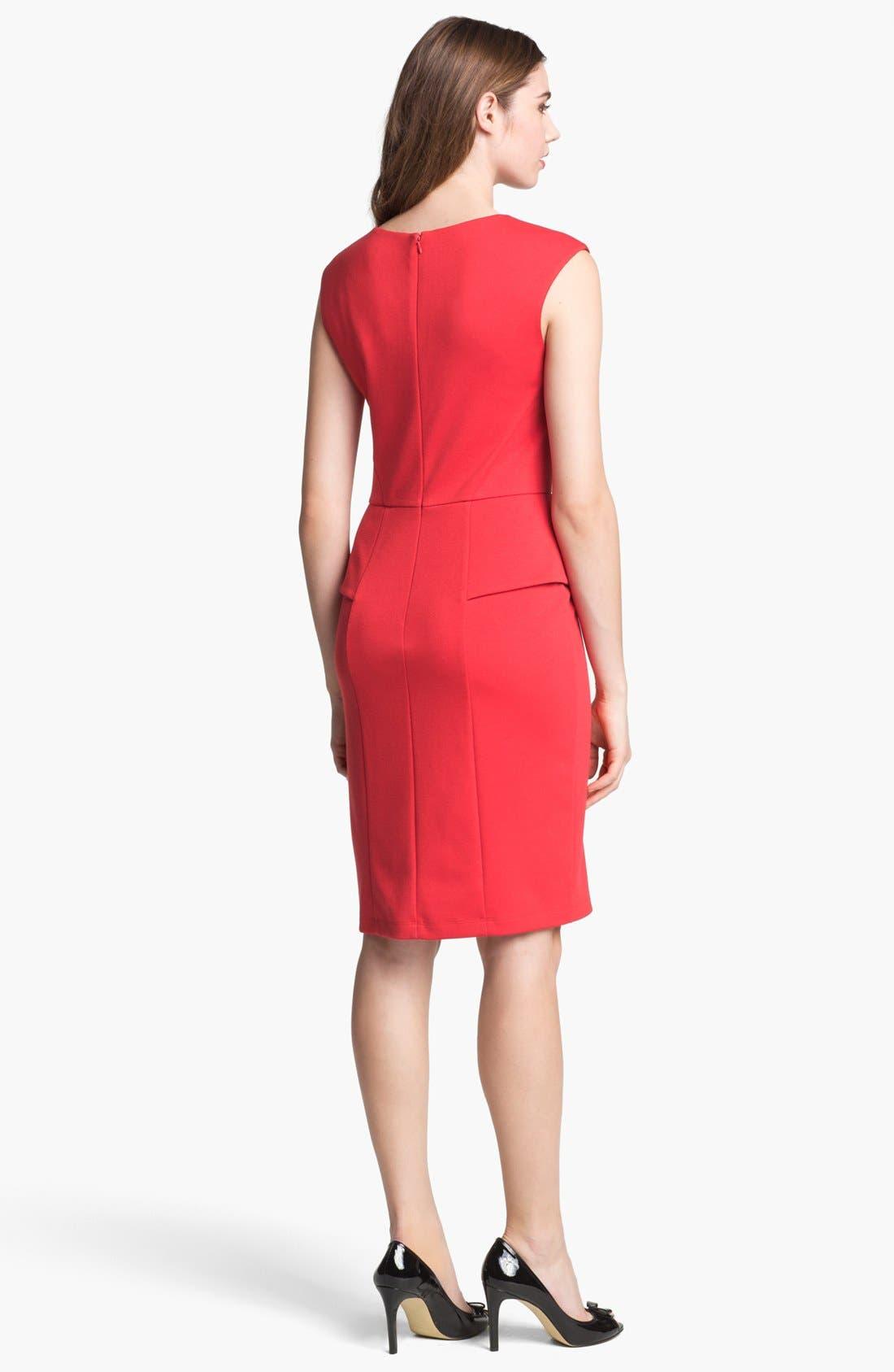Alternate Image 2  - Calvin Klein Cap Sleeve Peplum Sheath Dress (Online Only)
