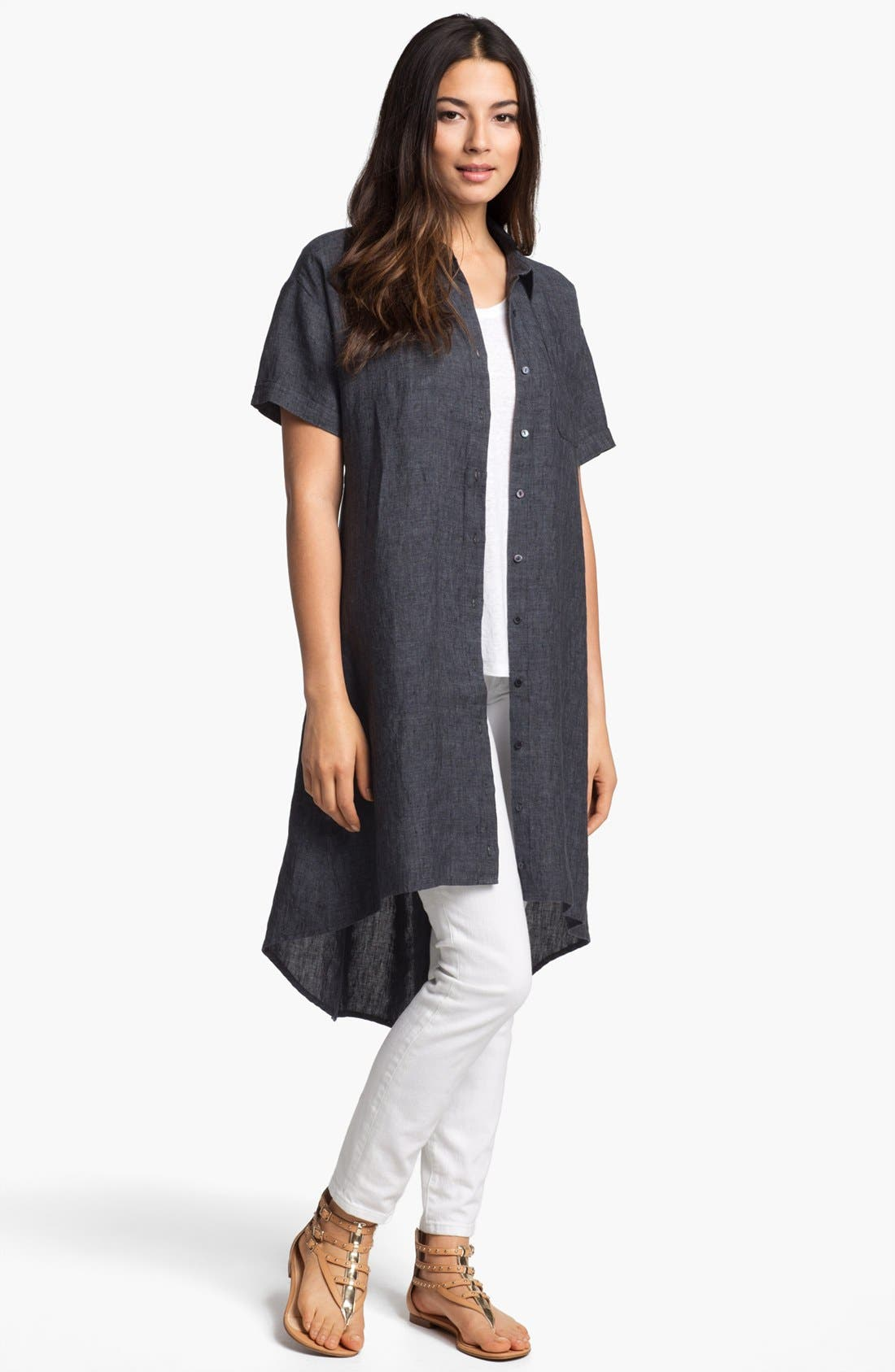 Alternate Image 5  - Eileen Fisher High/Low Linen Shirtdress