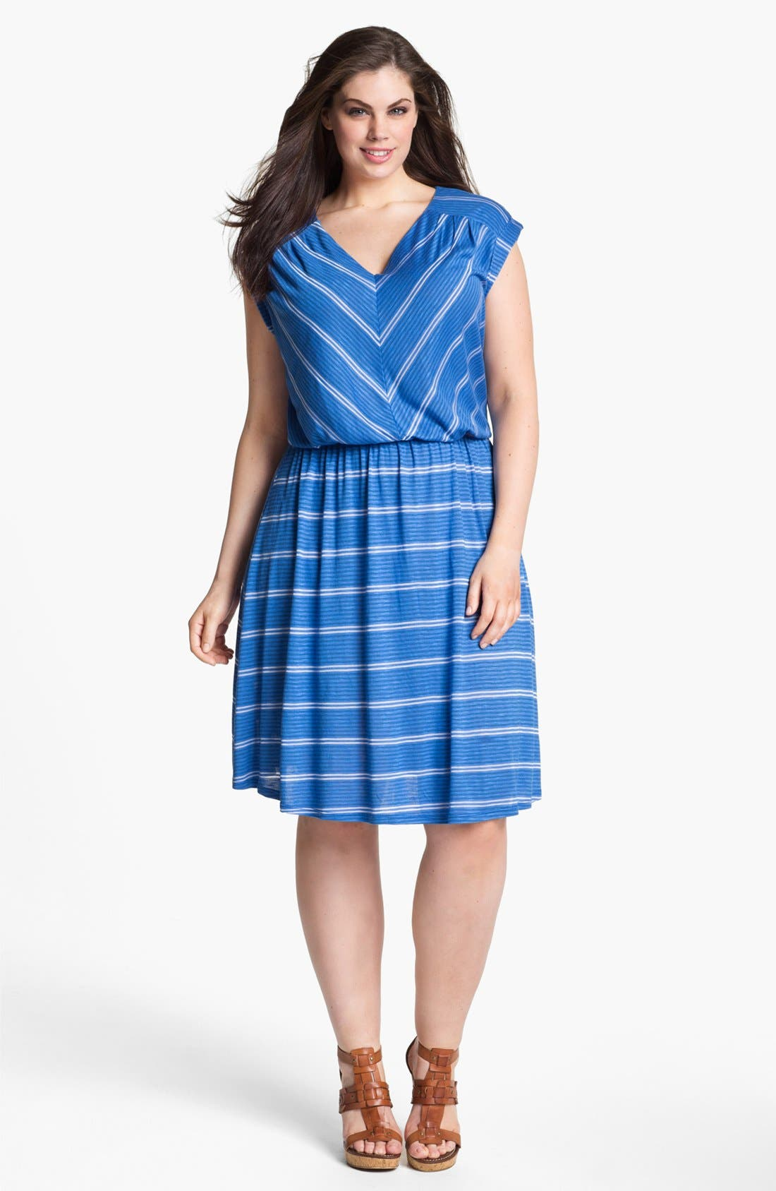 Alternate Image 1 Selected - Olivia Moon Striped Jersey Dress (Plus Size)