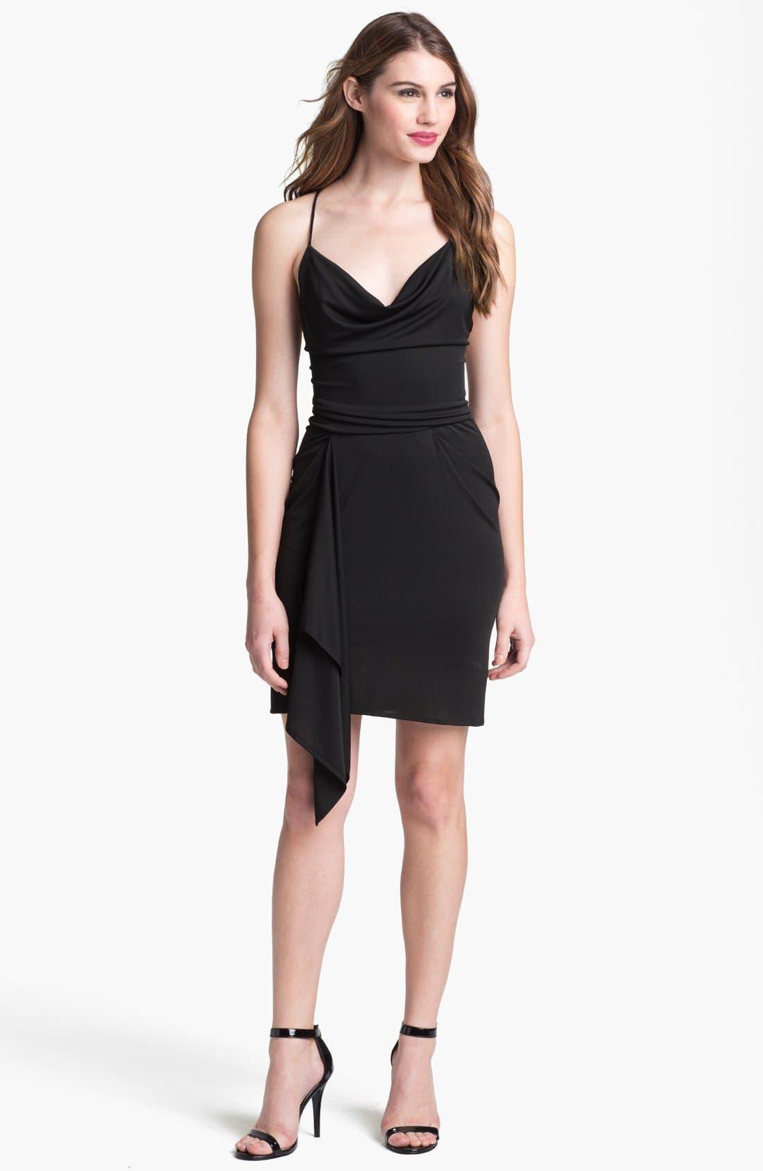 Main Image - BCBGMAXAZRIA Cowl Neck Side Draped Jersey Dress