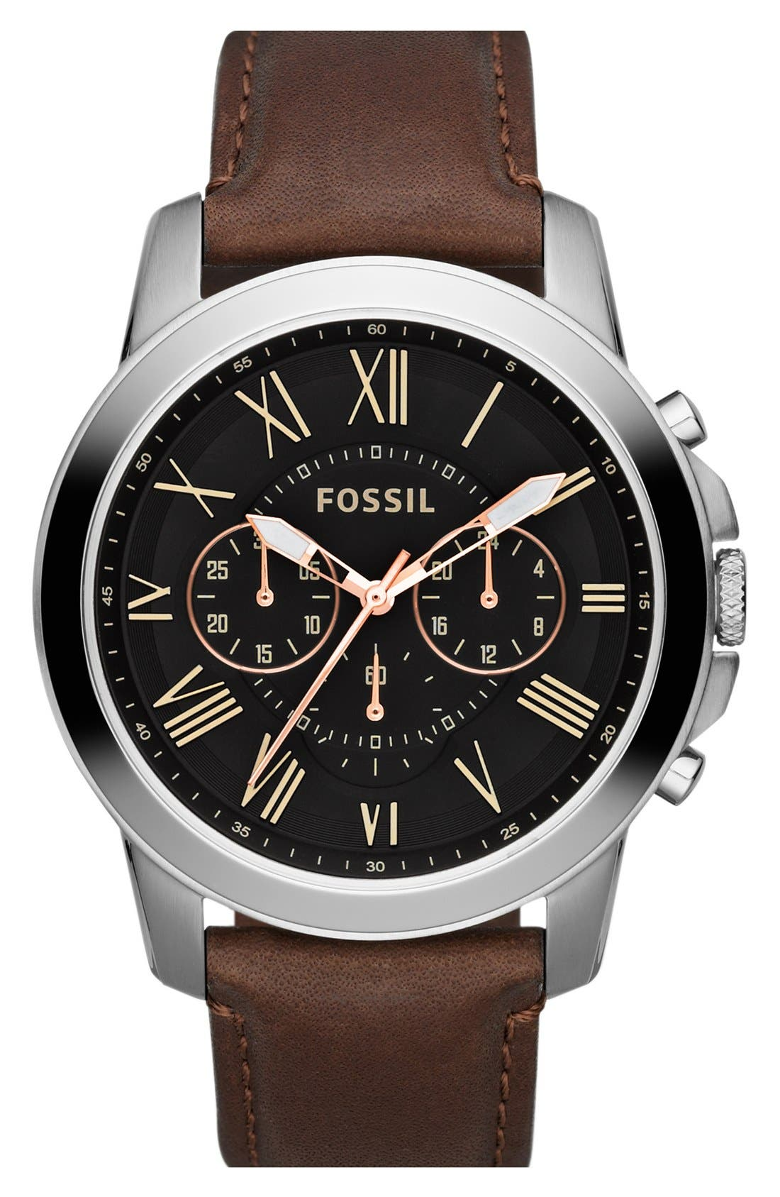 'Grant' Round Chronograph Leather Strap Watch, 44mm,                         Main,                         color, Brown/ Black