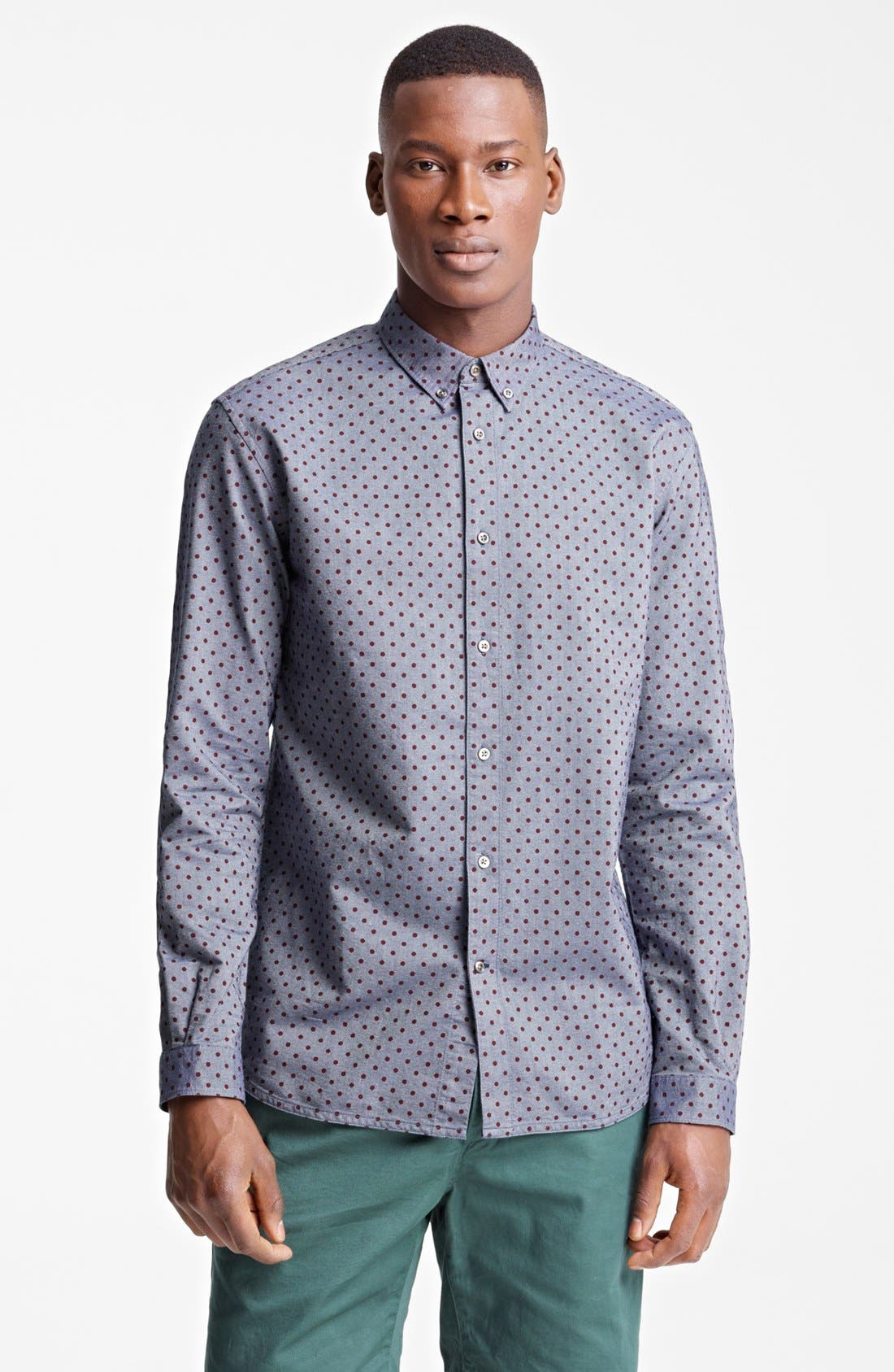 Alternate Image 1 Selected - Paul Smith Jeans Tailored Fit Dot Print Sport Shirt