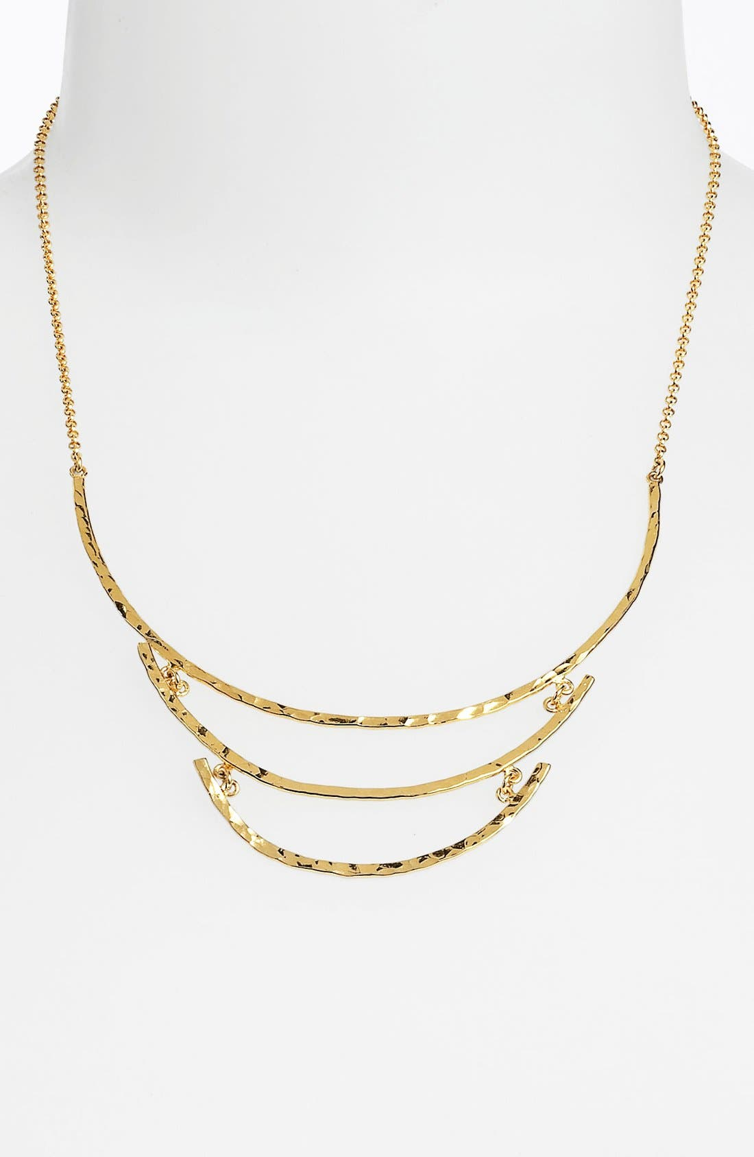 Main Image - Argento Vivo Hammered Crescent Tiered Bib Necklace