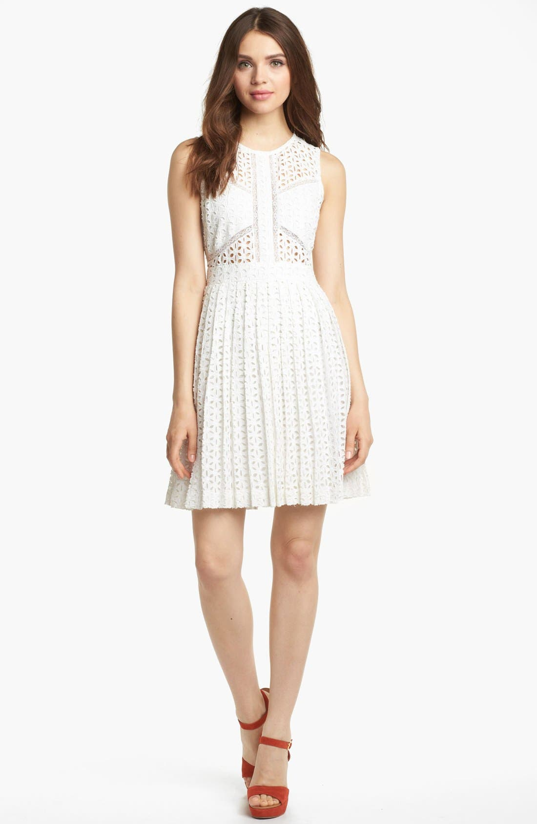 Sleeveless Cotton Fit & Flare Dress,                         Main,                         color, White