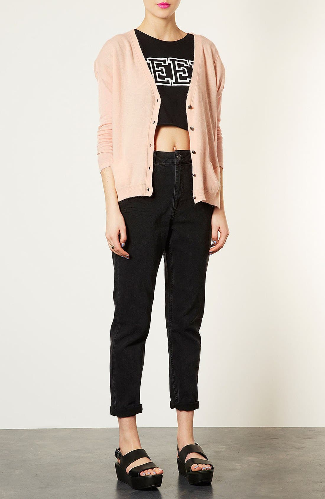 Alternate Image 1 Selected - Topshop Sheer Sleeve Envelope Back Cardigan