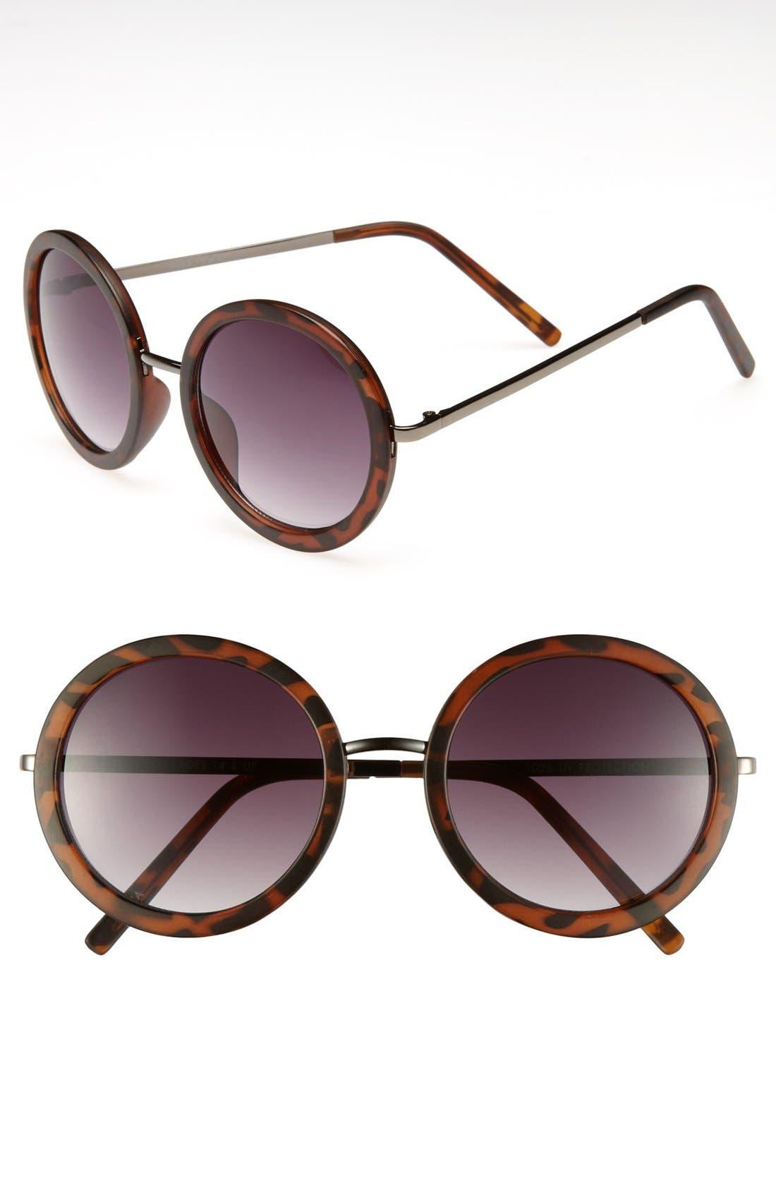 Round 51mm Sunglasses,                         Main,                         color, Matte Tortoise
