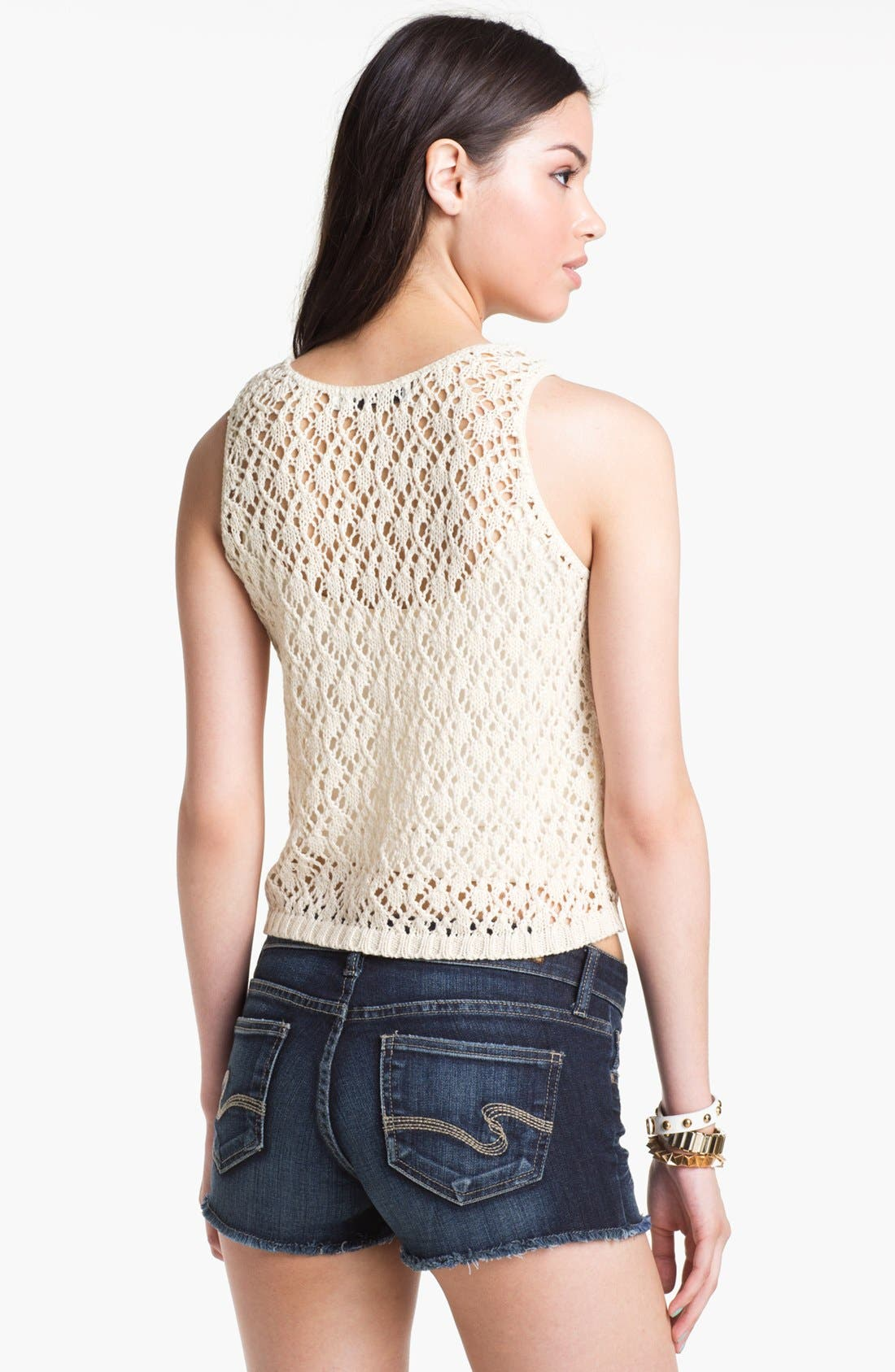 Alternate Image 2  - Cotton Emporium Crochet Sweater Tank (Juniors)