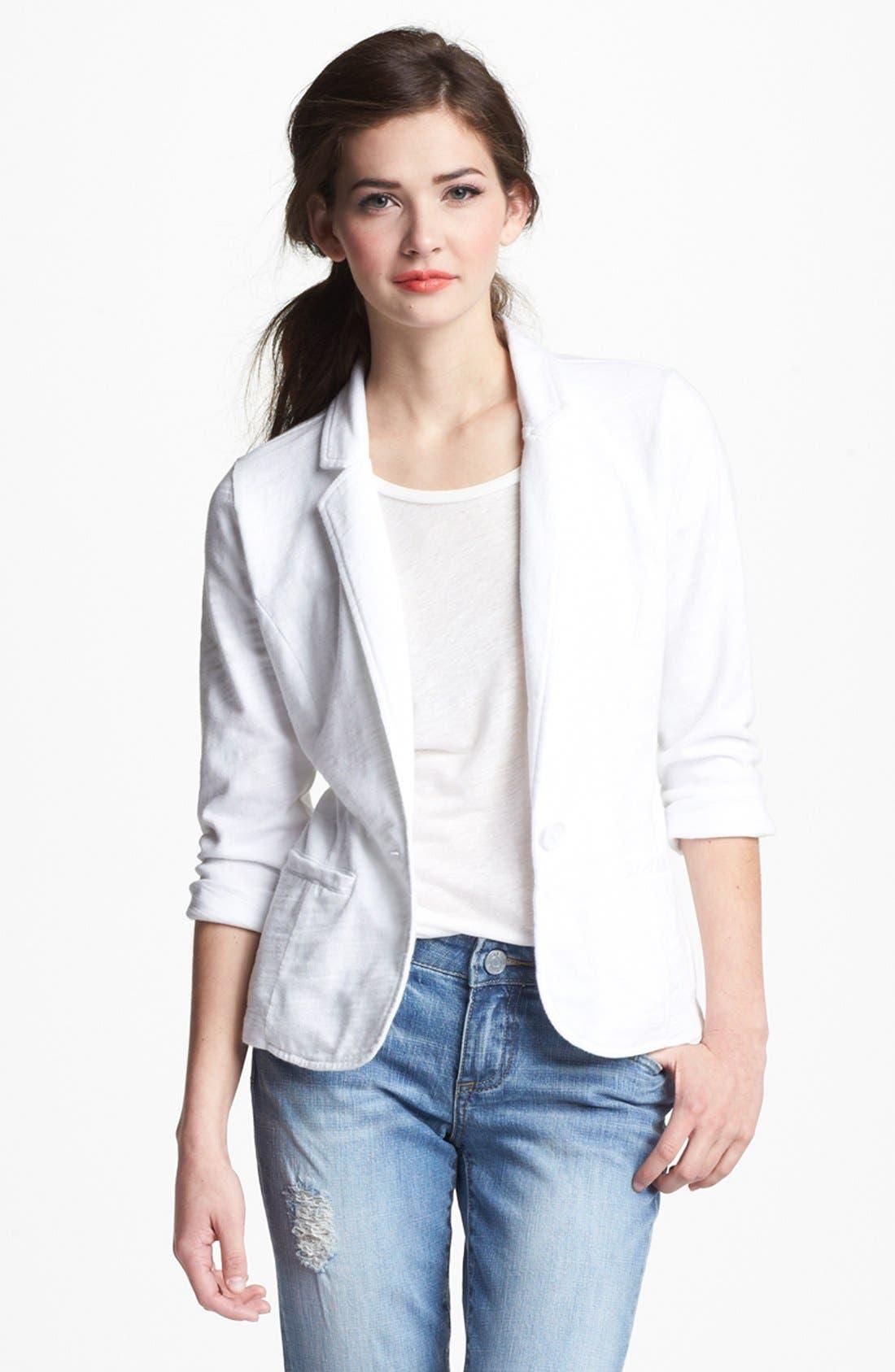 Main Image - Caslon® Roll Sleeve Knit Blazer (Petite)