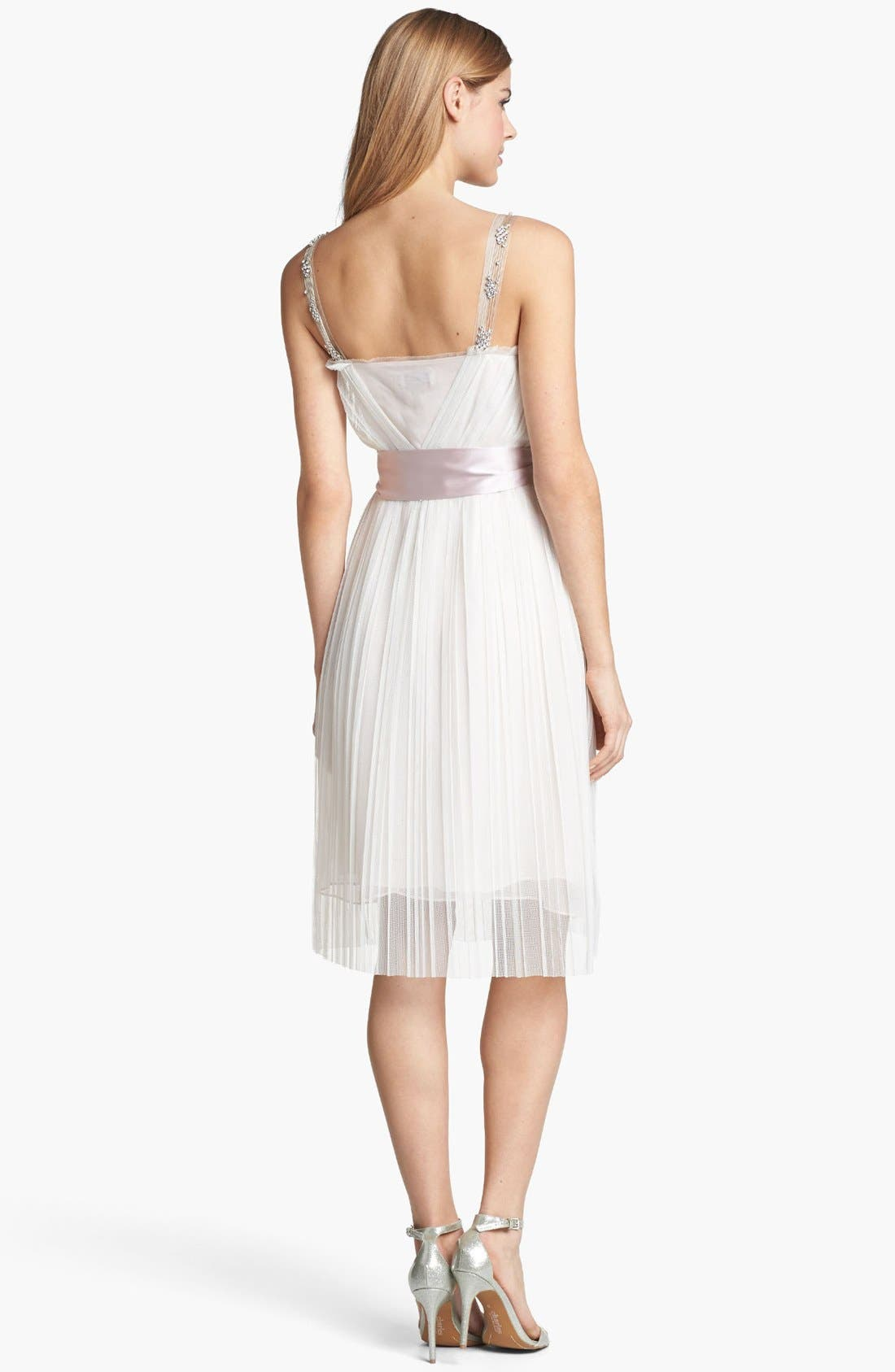 Alternate Image 2  - Ivy & Blu Embellished Pleat Chiffon Dress (Online Only)