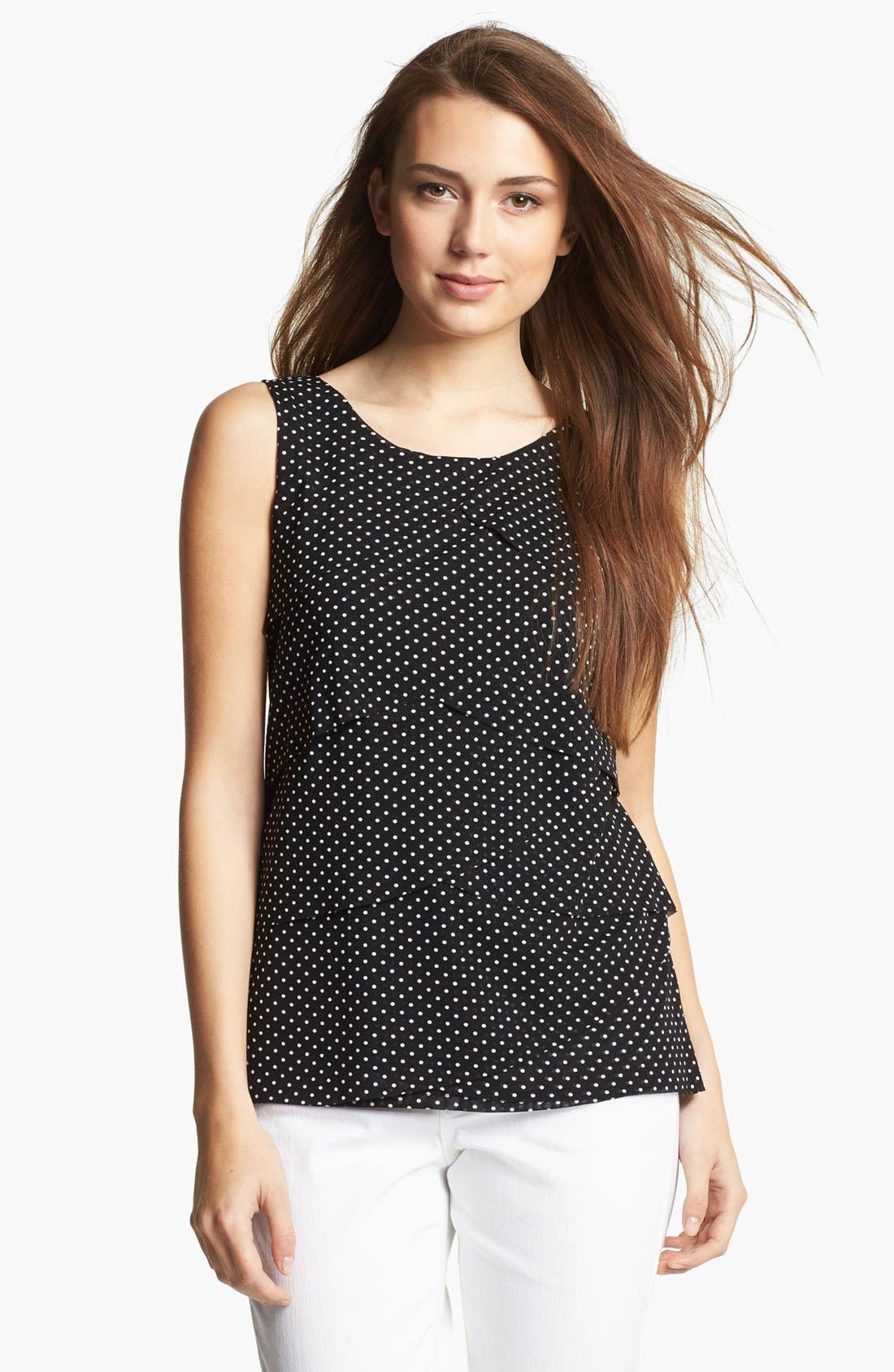 Alternate Image 1 Selected - Chaus Mini Polka Dot Tiered Mesh Top