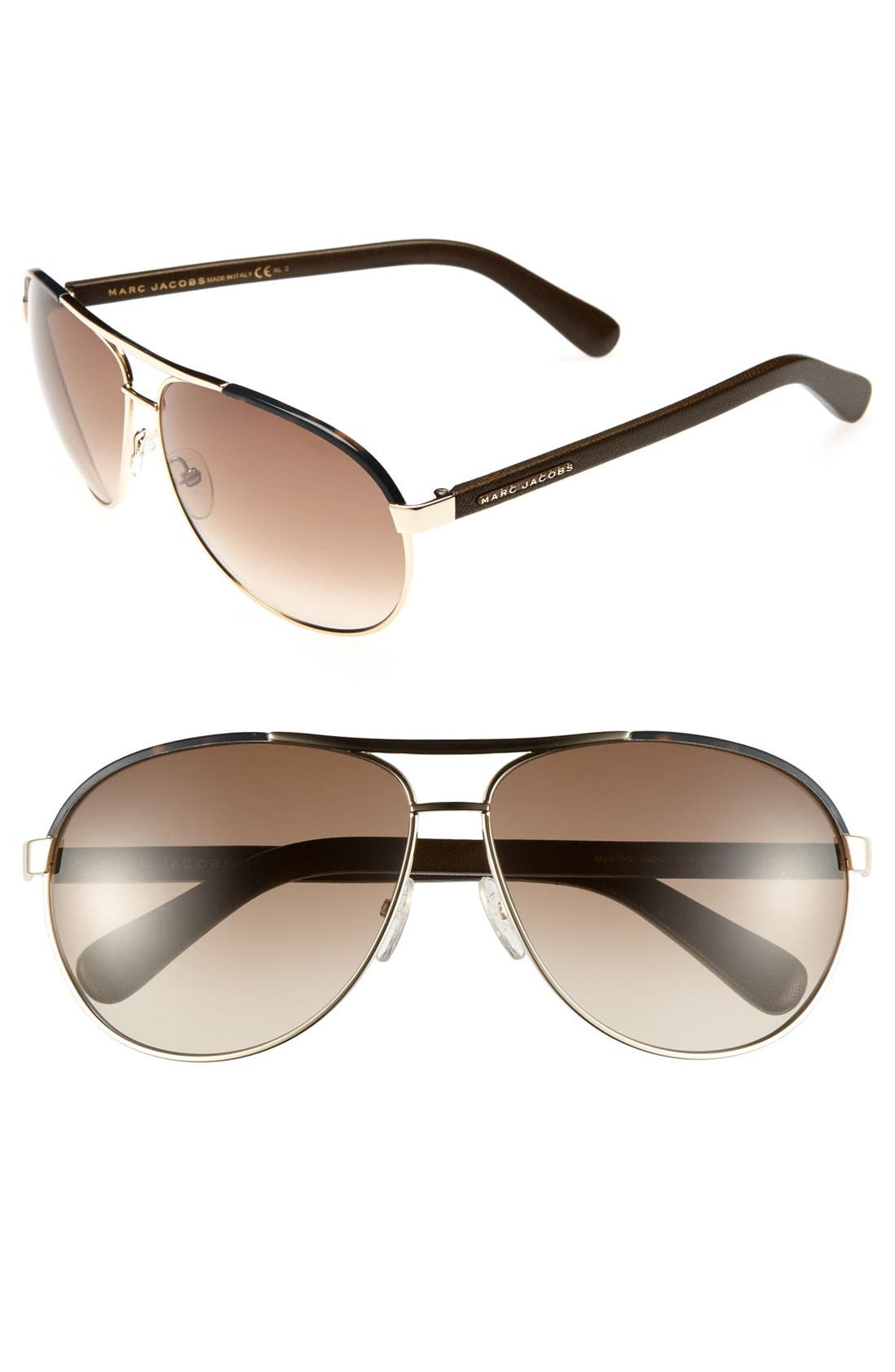 Main Image - MARC JACOBS 63mm Aviator Sunglasses