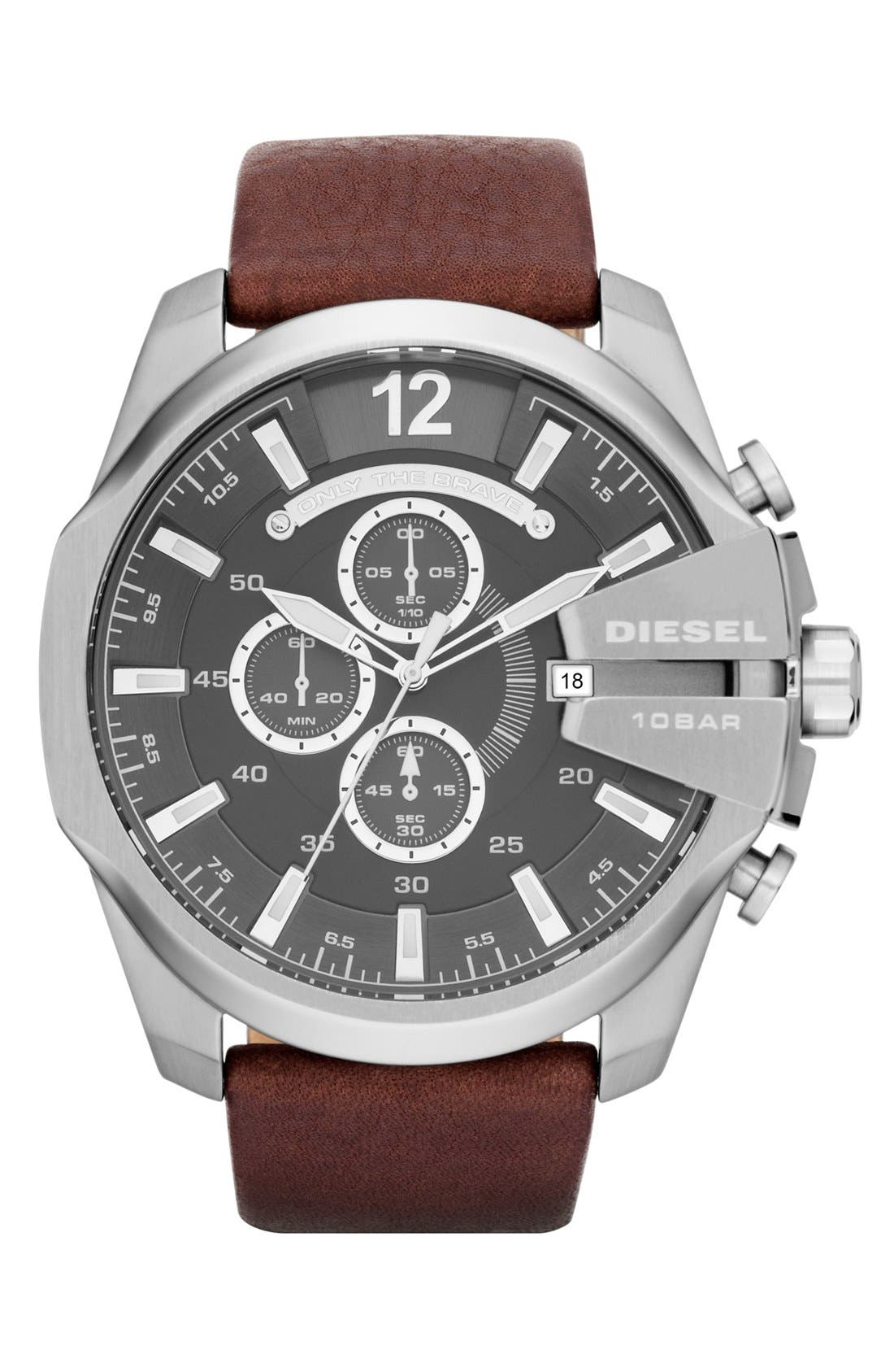 'Mega Chief' Leather Strap Watch, 51mm,                             Main thumbnail 1, color,                             Brown/ Silver