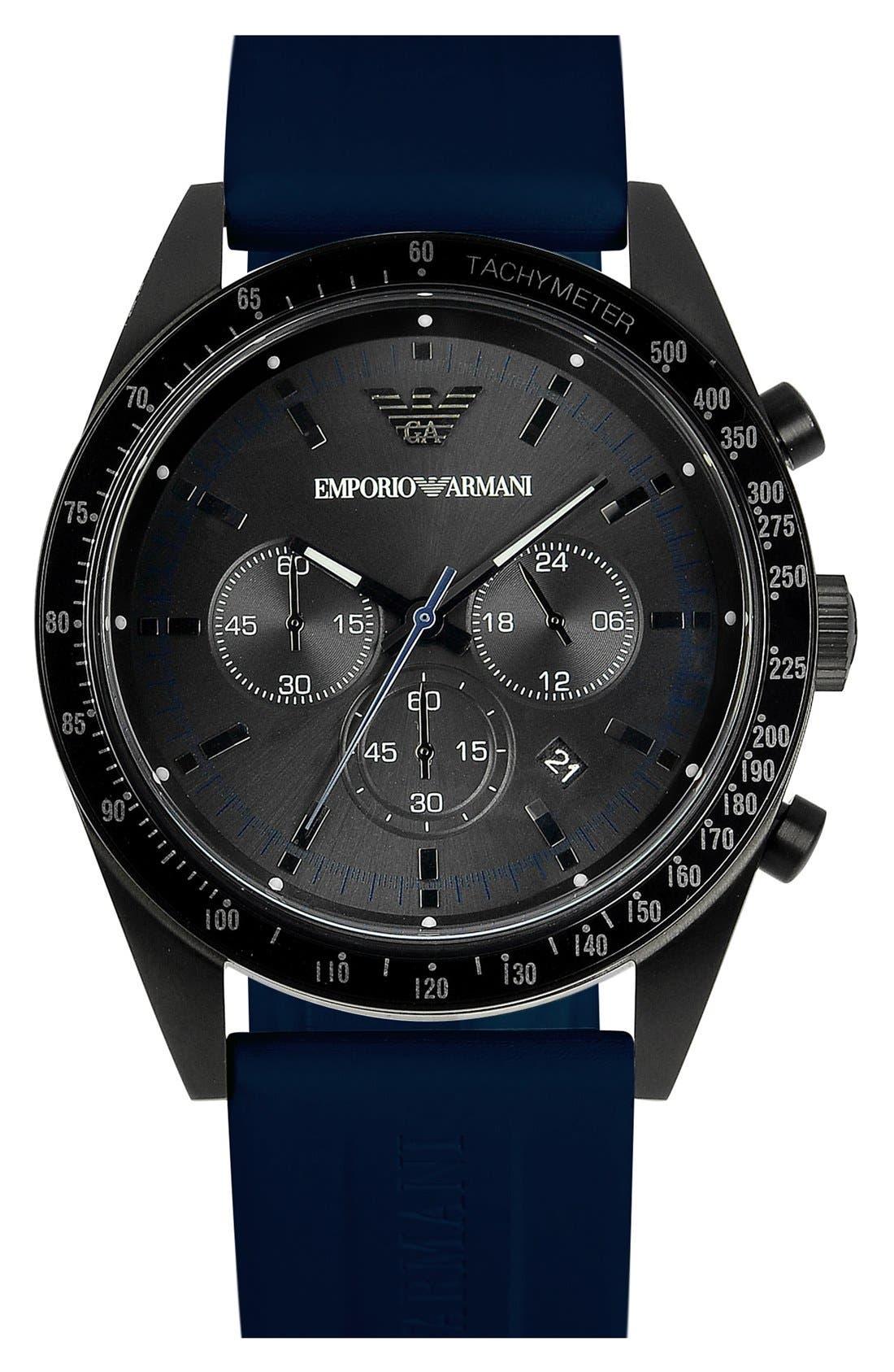 Main Image - Emporio Armani Silicone Strap Sports Watch, 43mm