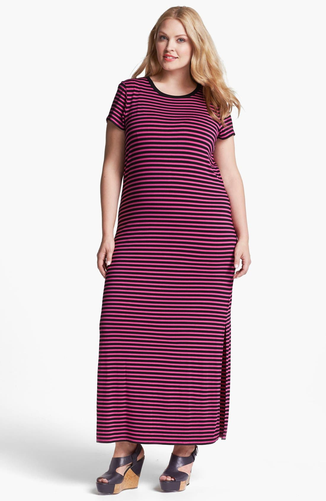 Alternate Image 1 Selected - MICHAEL Michael Kors Stripe Crewneck Maxi Dress (Plus Size)