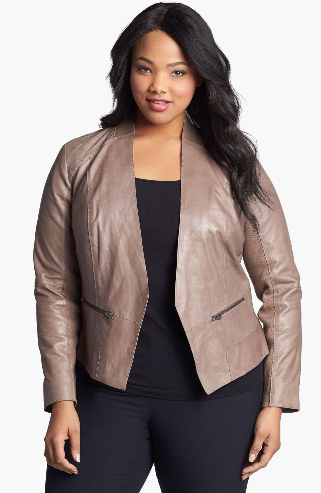 Main Image - Halogen® Cutaway Leather Jacket (Plus Size)
