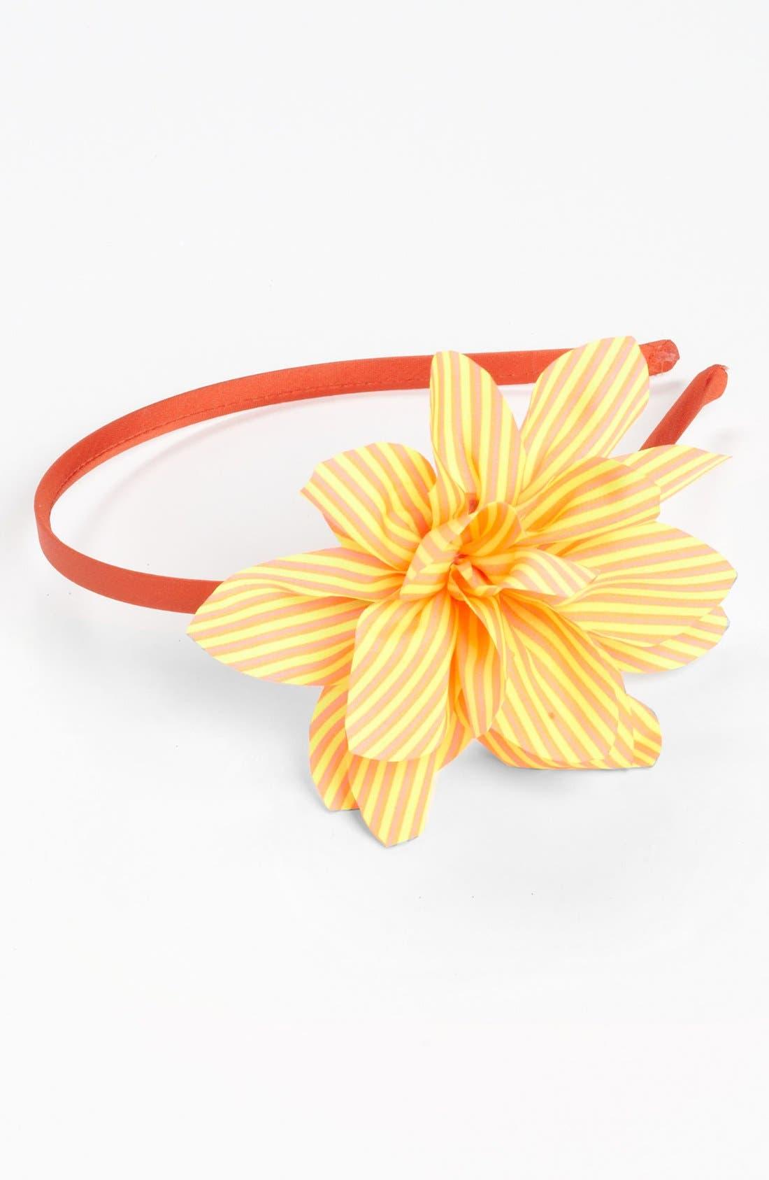 Main Image - Cara Stripe Flower Headband (Girls)