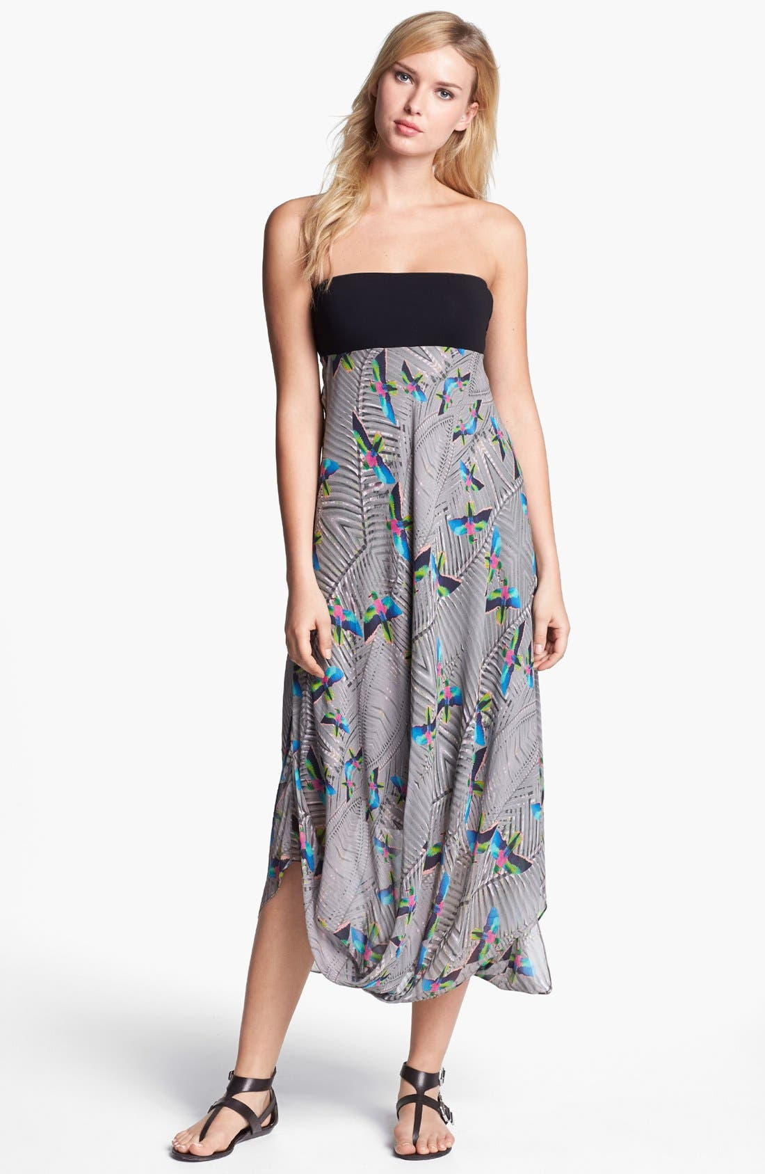 Main Image - Nicole Miller 'Jungle Bird' Print Strapless Midi Dress