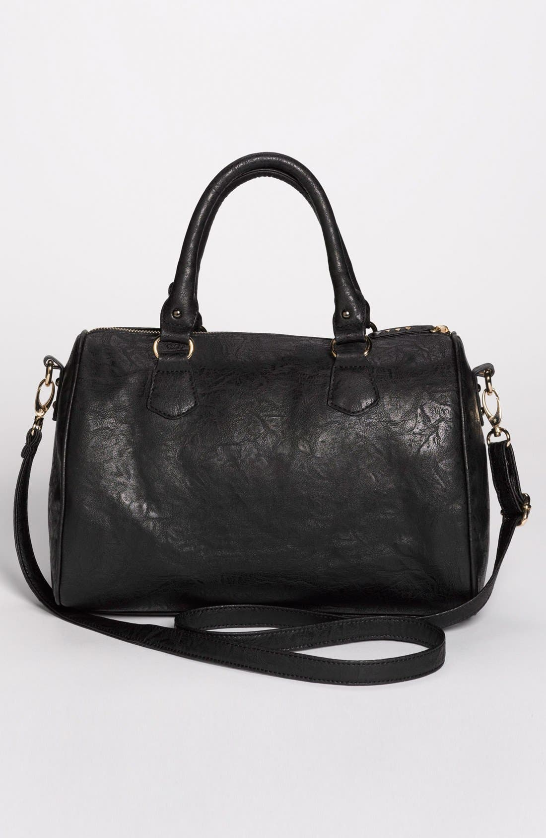 Alternate Image 4  - Cesca 'Del Cesca' Studded Faux Leather Barrel Tote (Juniors)