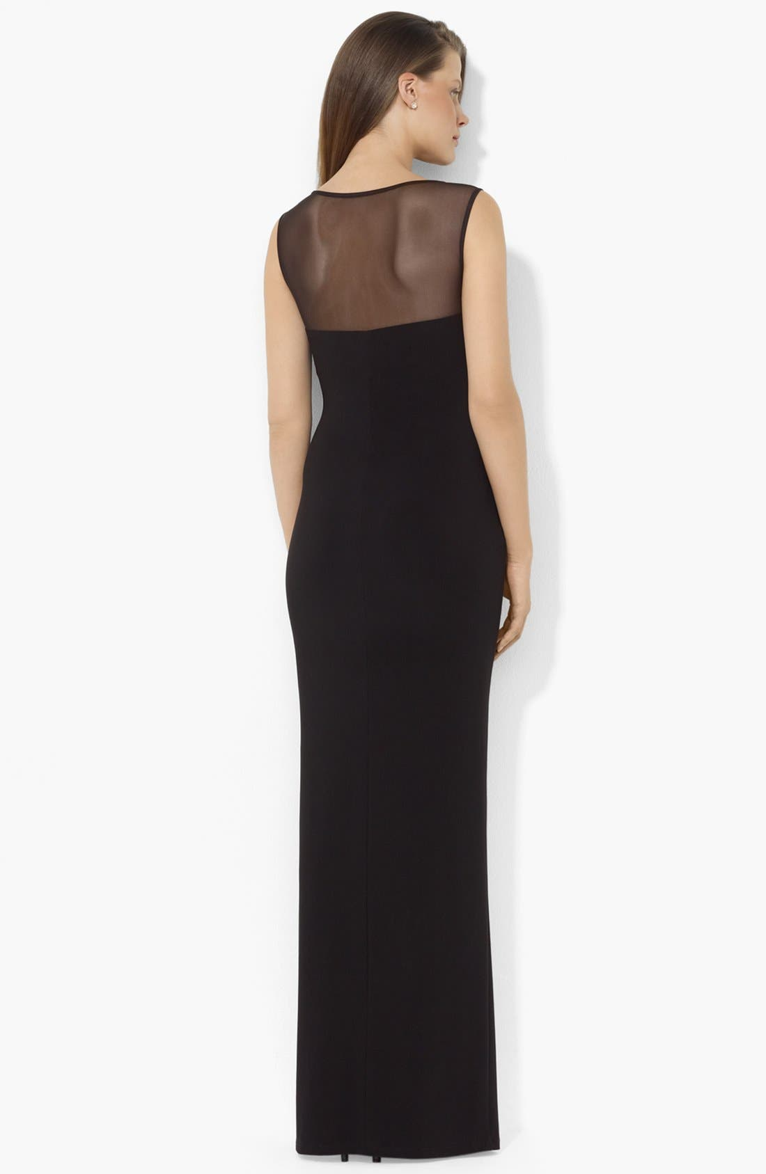 Alternate Image 2  - Lauren Ralph Lauren Illusion Yoke Matte Jersey Gown