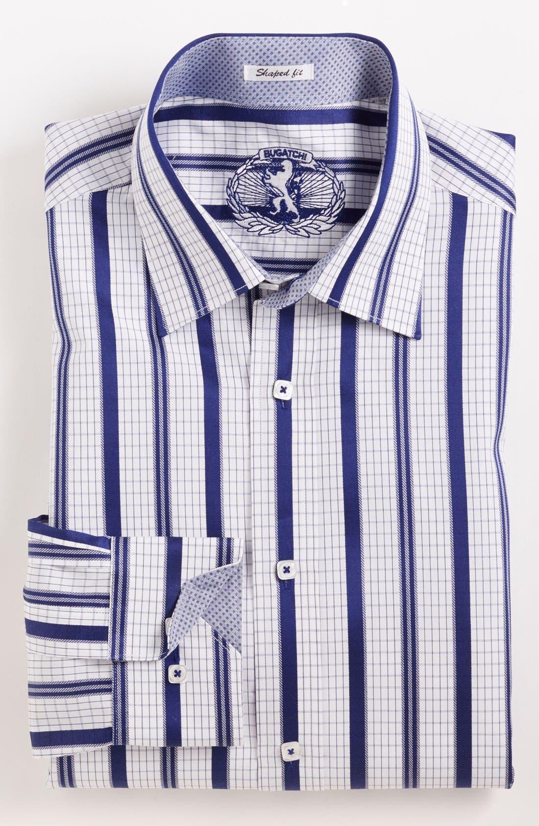 Alternate Image 2  - Bugatchi Striped Shaped Fit Cotton Sport Shirt