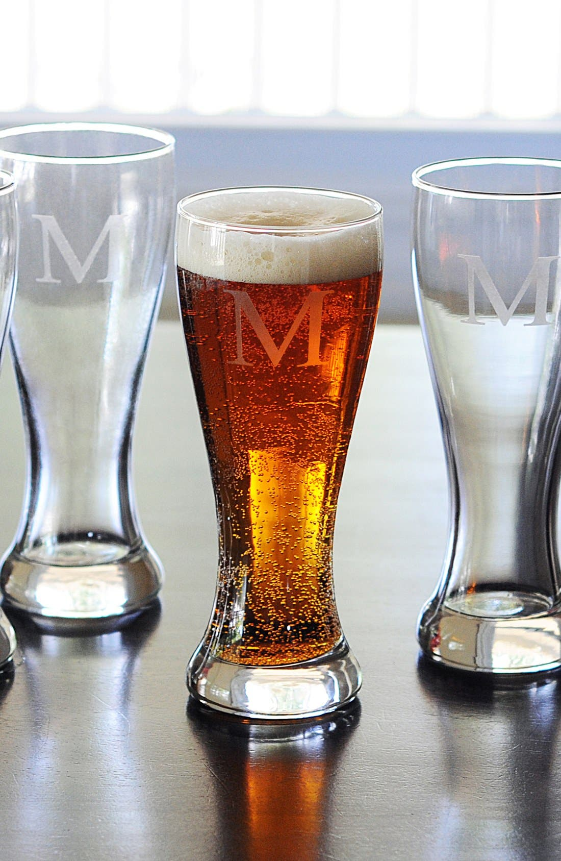 Alternate Image 1 Selected - Cathy's Concepts Monogram Pilsner Glasses (Set of 4)