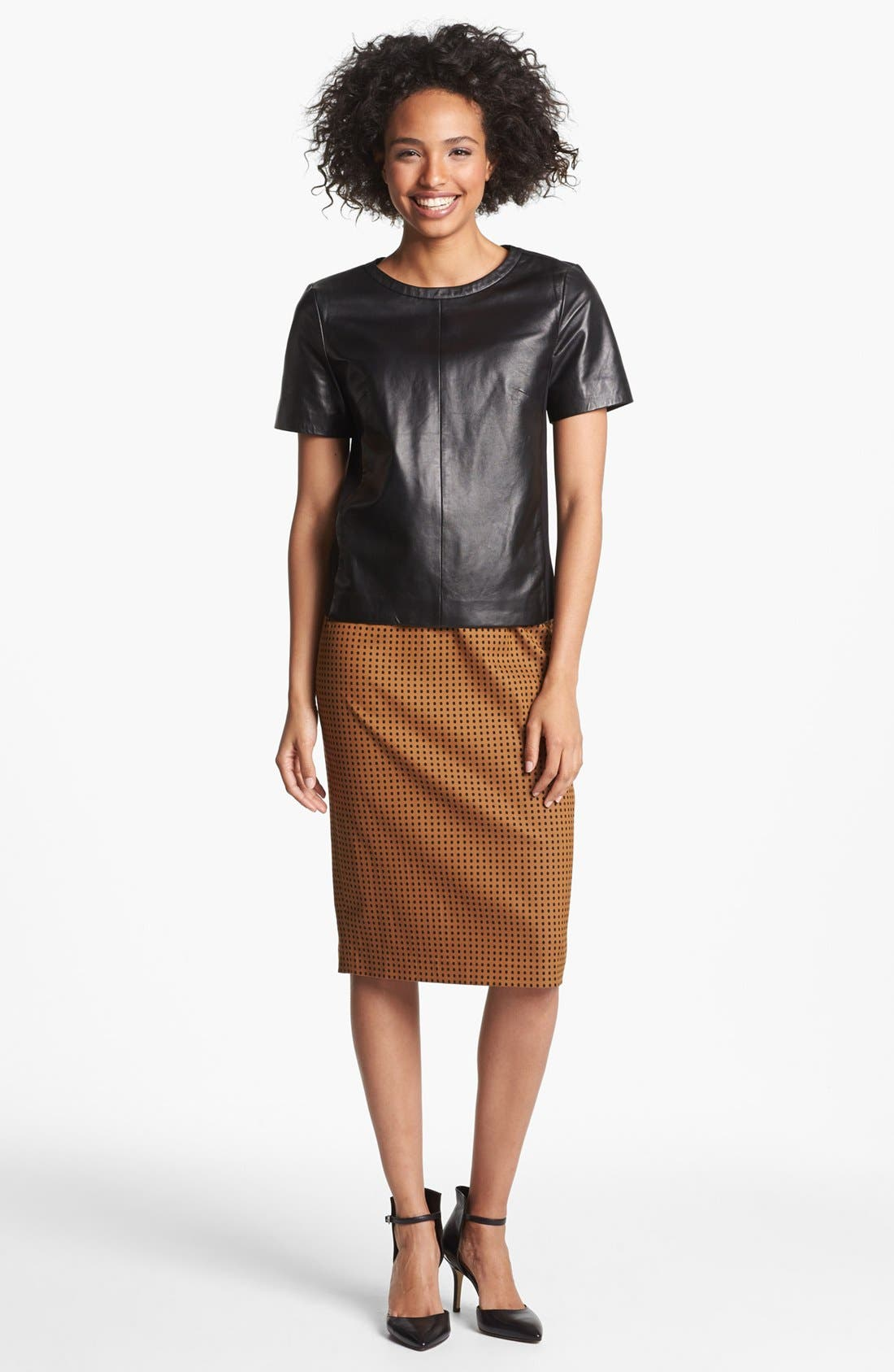 Alternate Image 4  - Halogen® Leather Front Top (Regular & Petite) (Online Only)