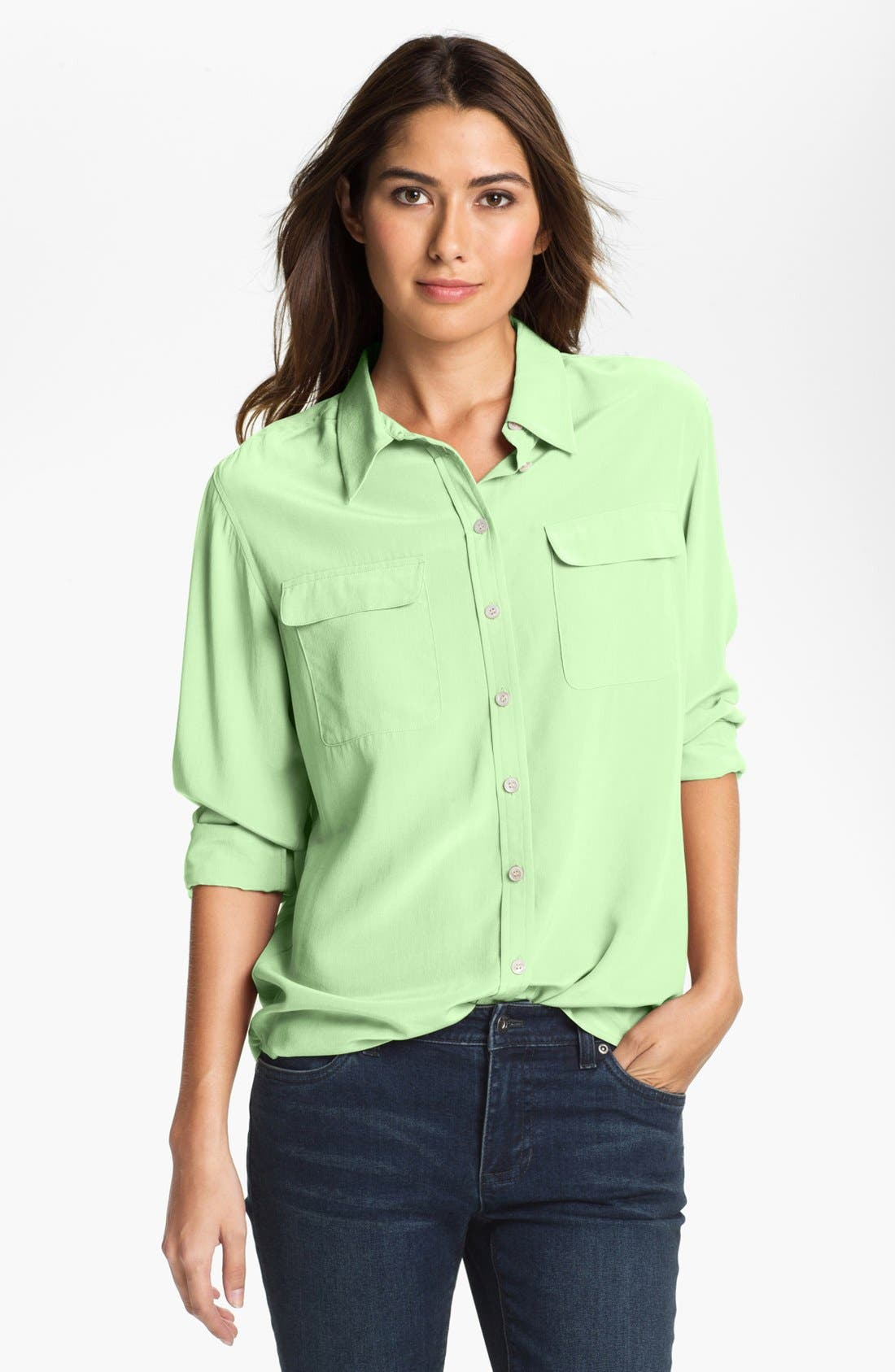 Main Image - Two by Vince Camuto Silk Utility Blouse