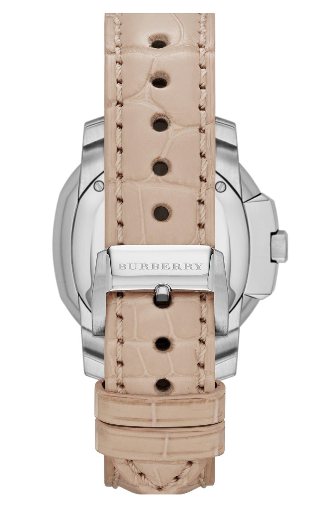 Alternate Image 3  - Burberry The Britain Diamond Dial Alligator Strap Watch, 34mm