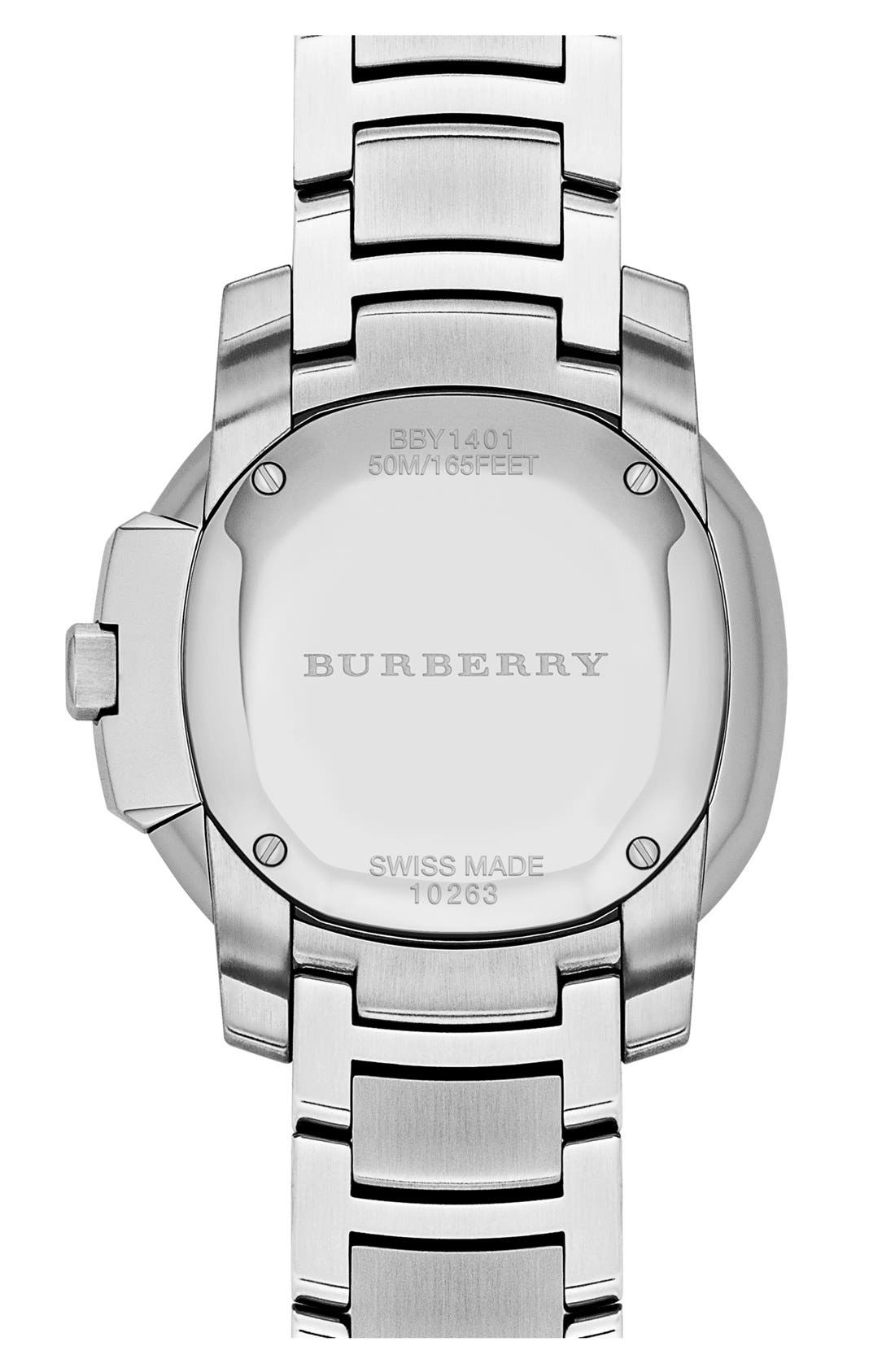 Alternate Image 3  - Burberry The Britain Mother-of-Pearl Bracelet Watch, 38mm
