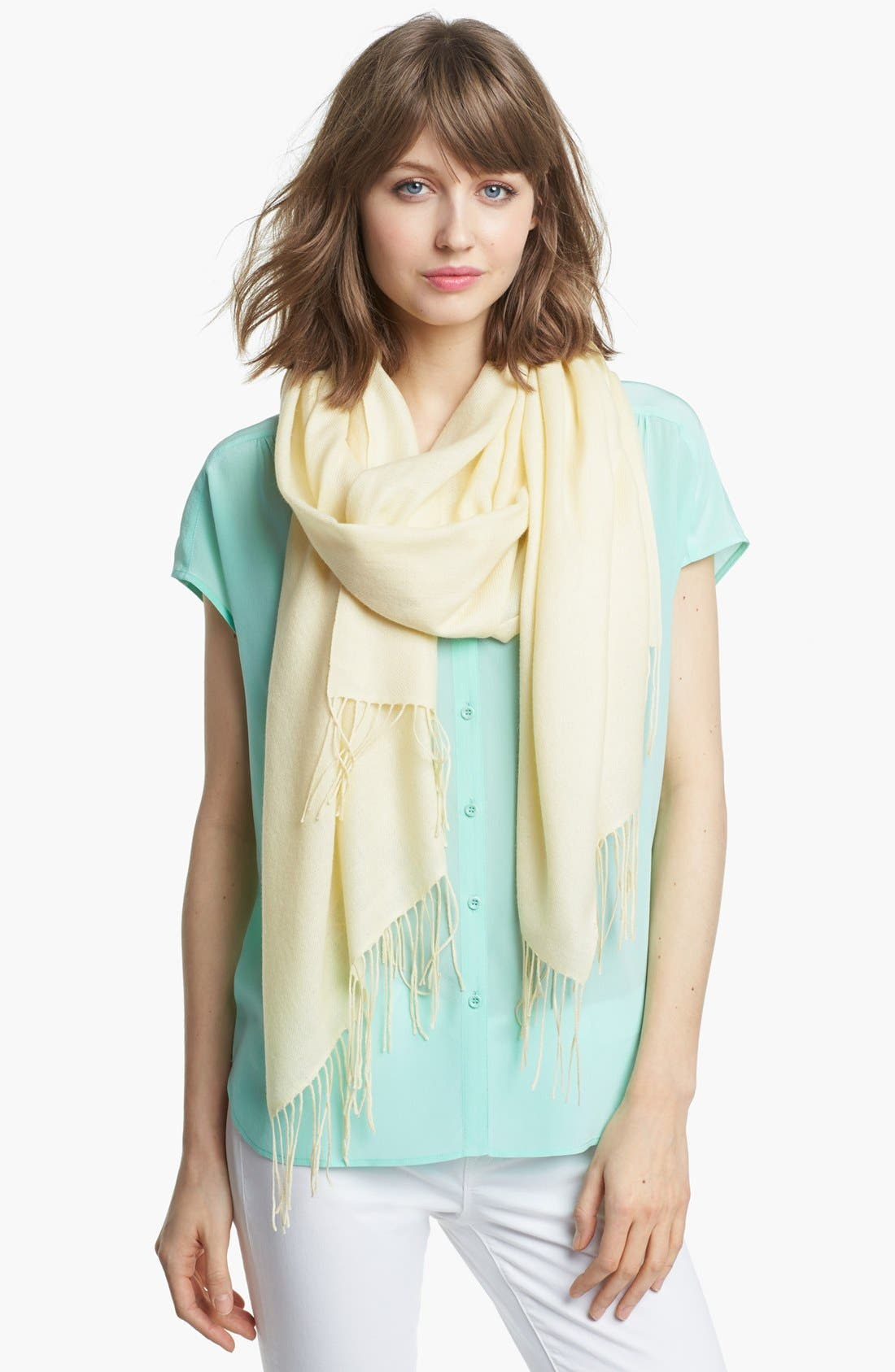 Tissue Weight Wool & Cashmere Wrap,                         Main,                         color, Cream Whip