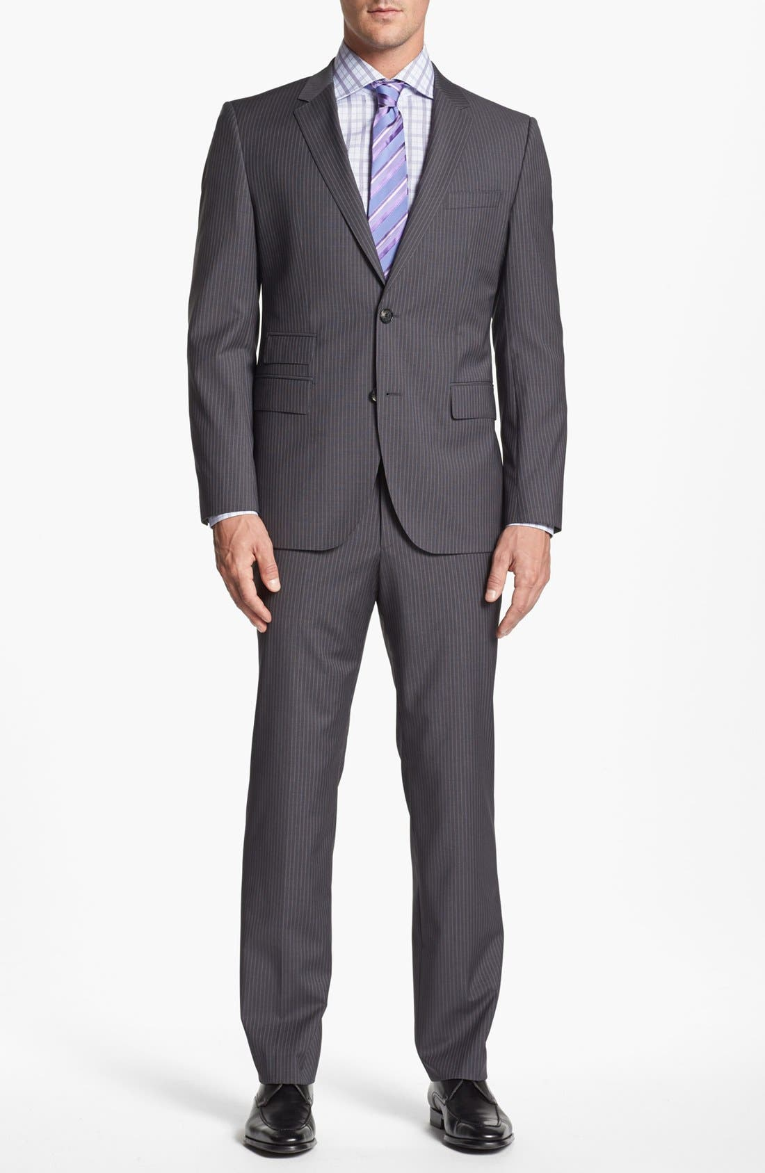 Main Image - BOSS HUGO BOSS 'Sweet/Sharp' Trim Fit Stripe Suit (Online Only)