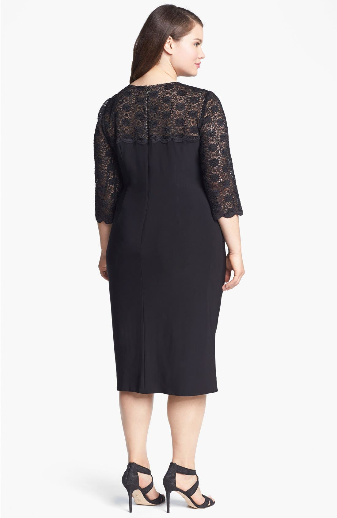 Alternate Image 2  - Alex Evenings Embellished Lace & Jersey Dress (Plus Size)
