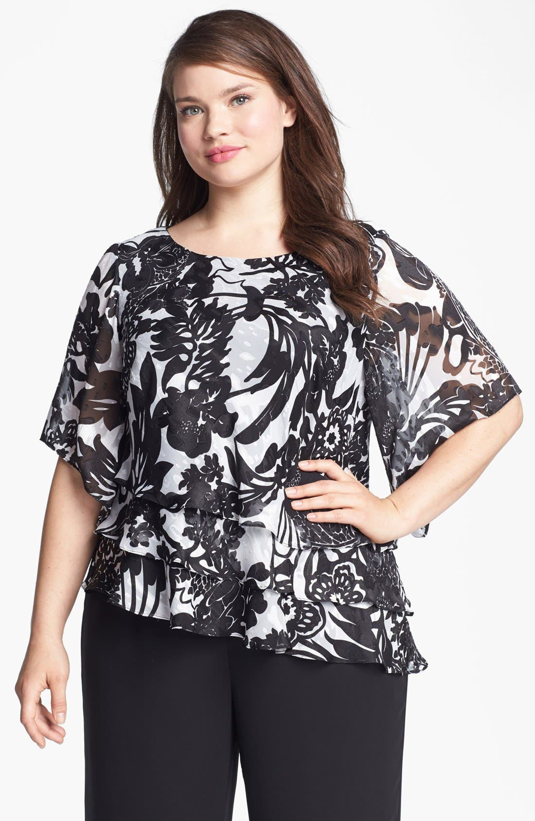 Alternate Image 1 Selected - Alex Evenings Print Tiered Blouse (Plus Size)
