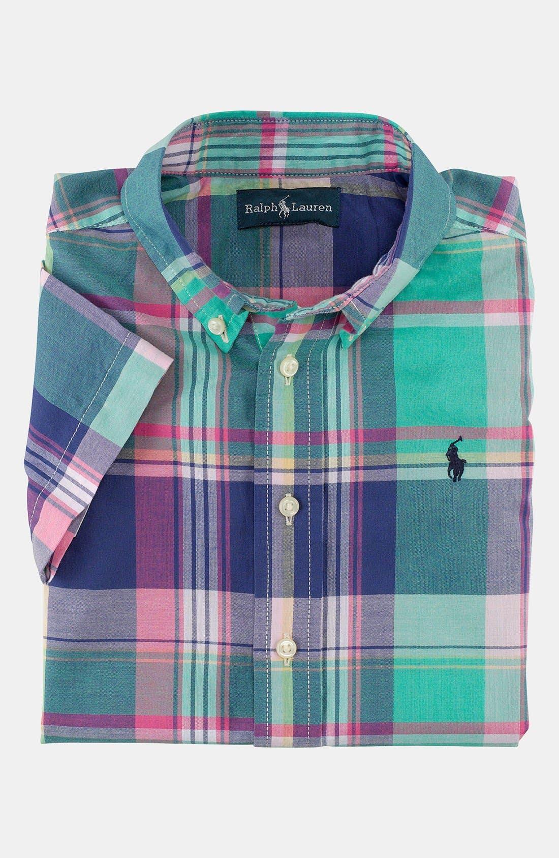 Alternate Image 1 Selected - Ralph Lauren Short Sleeve Sport Shirt (Toddler Boys)