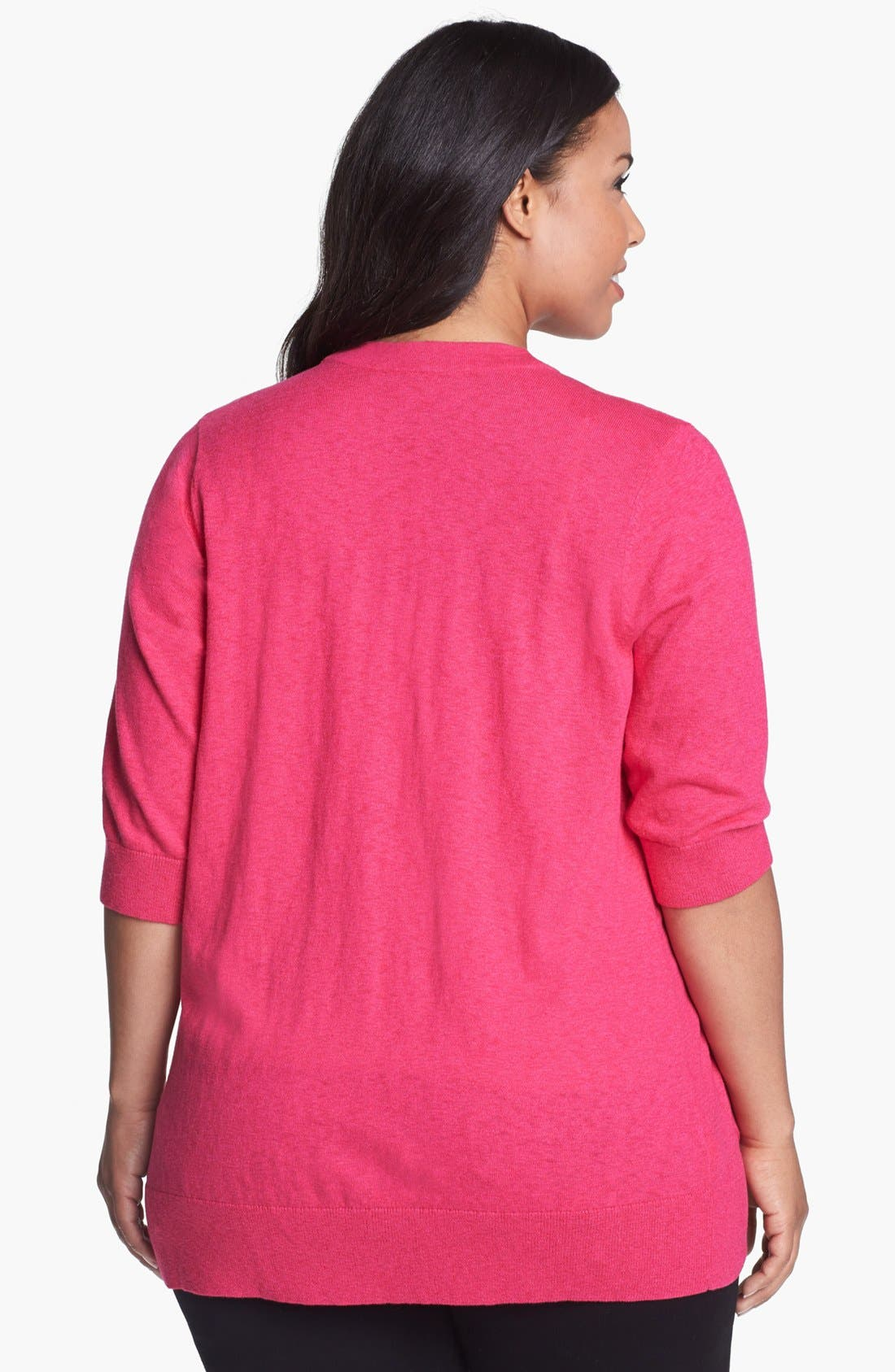 Alternate Image 2  - Sejour 'Girlfriend' Elbow Sleeve Cardigan (Plus Size)